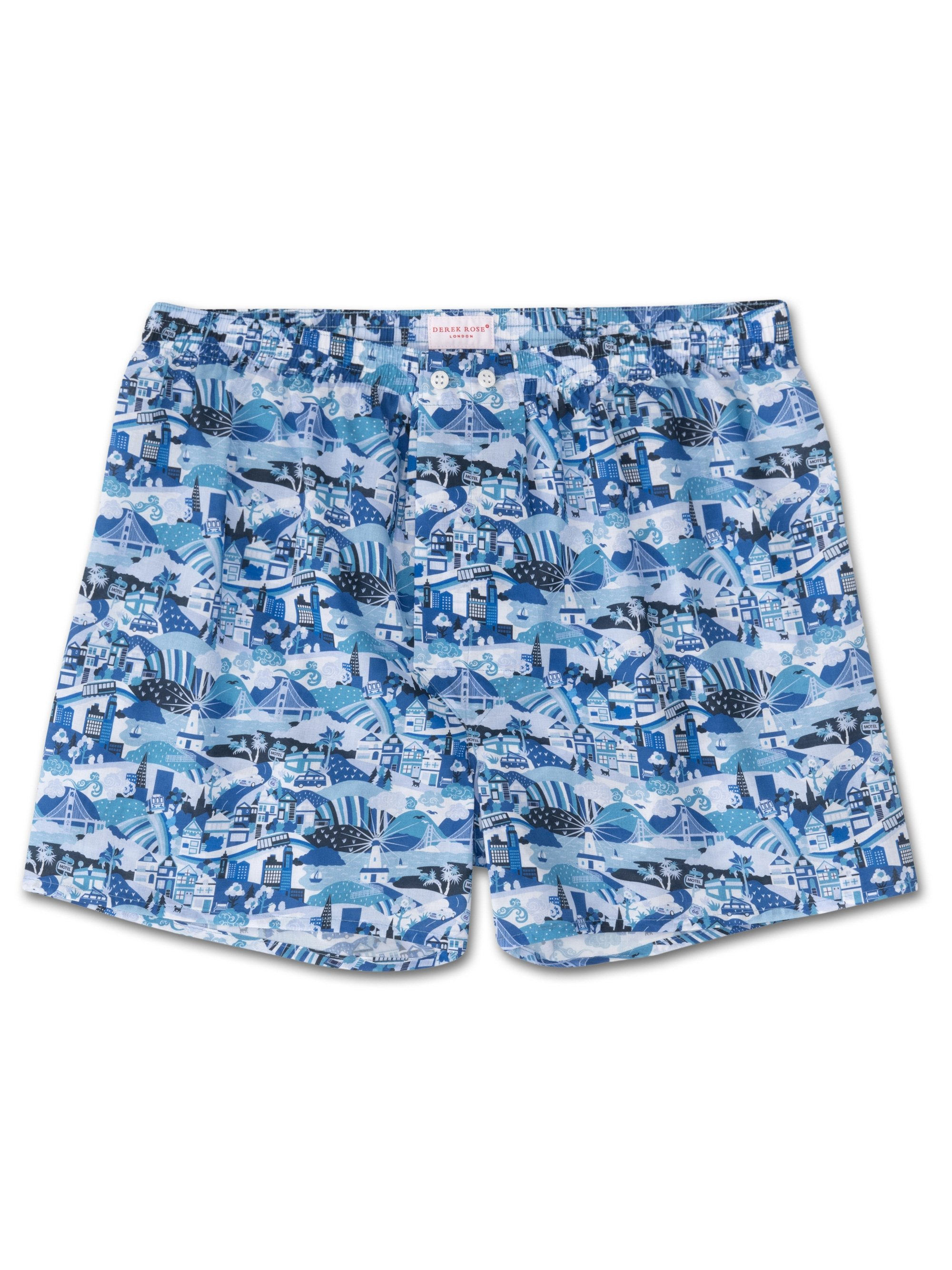 Men's Classic Fit Boxer Shorts Ledbury 19 Cotton Batiste Blue