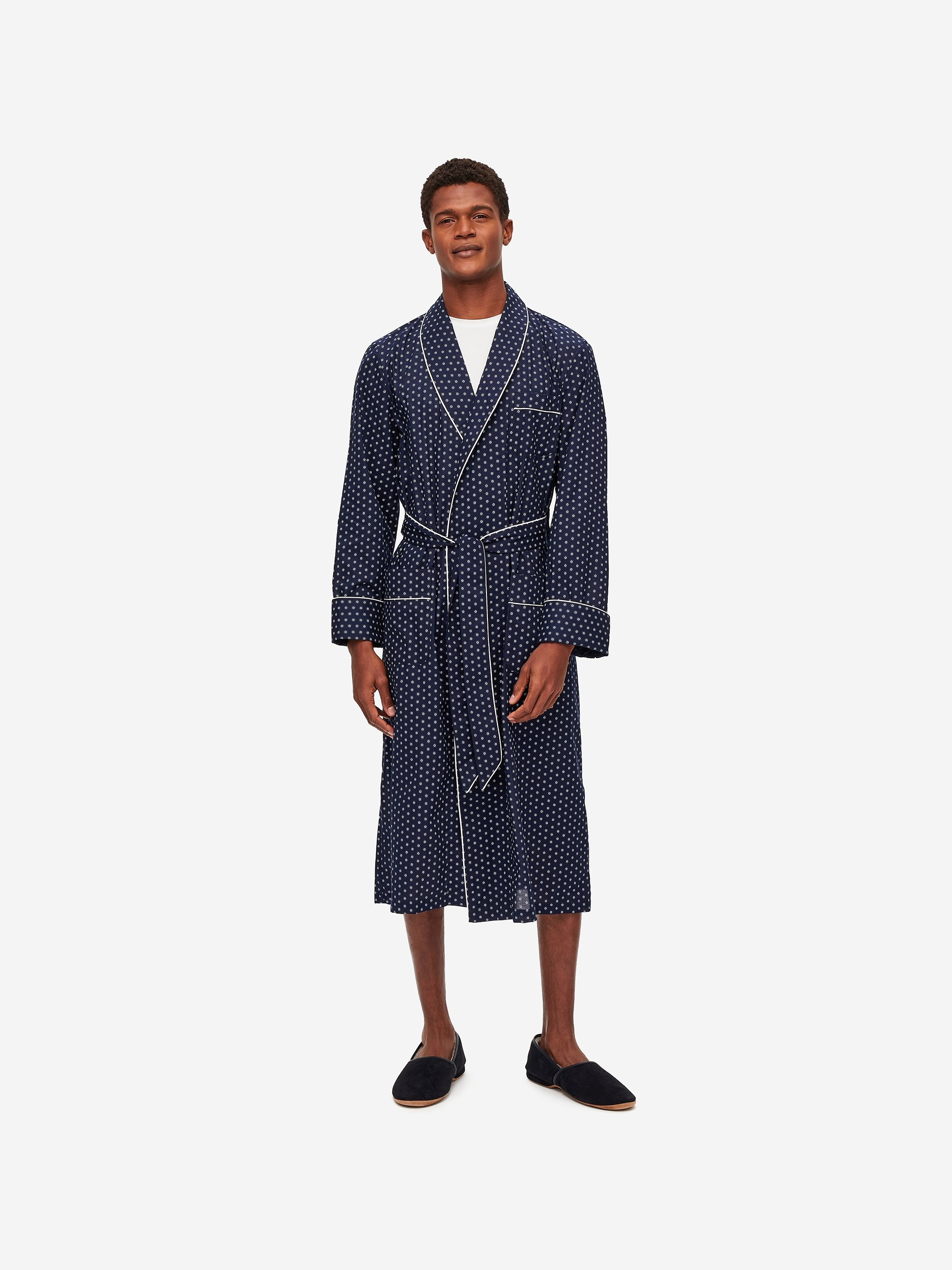 Men's Piped Dressing Gown Nelson 78 Cotton Batiste Navy