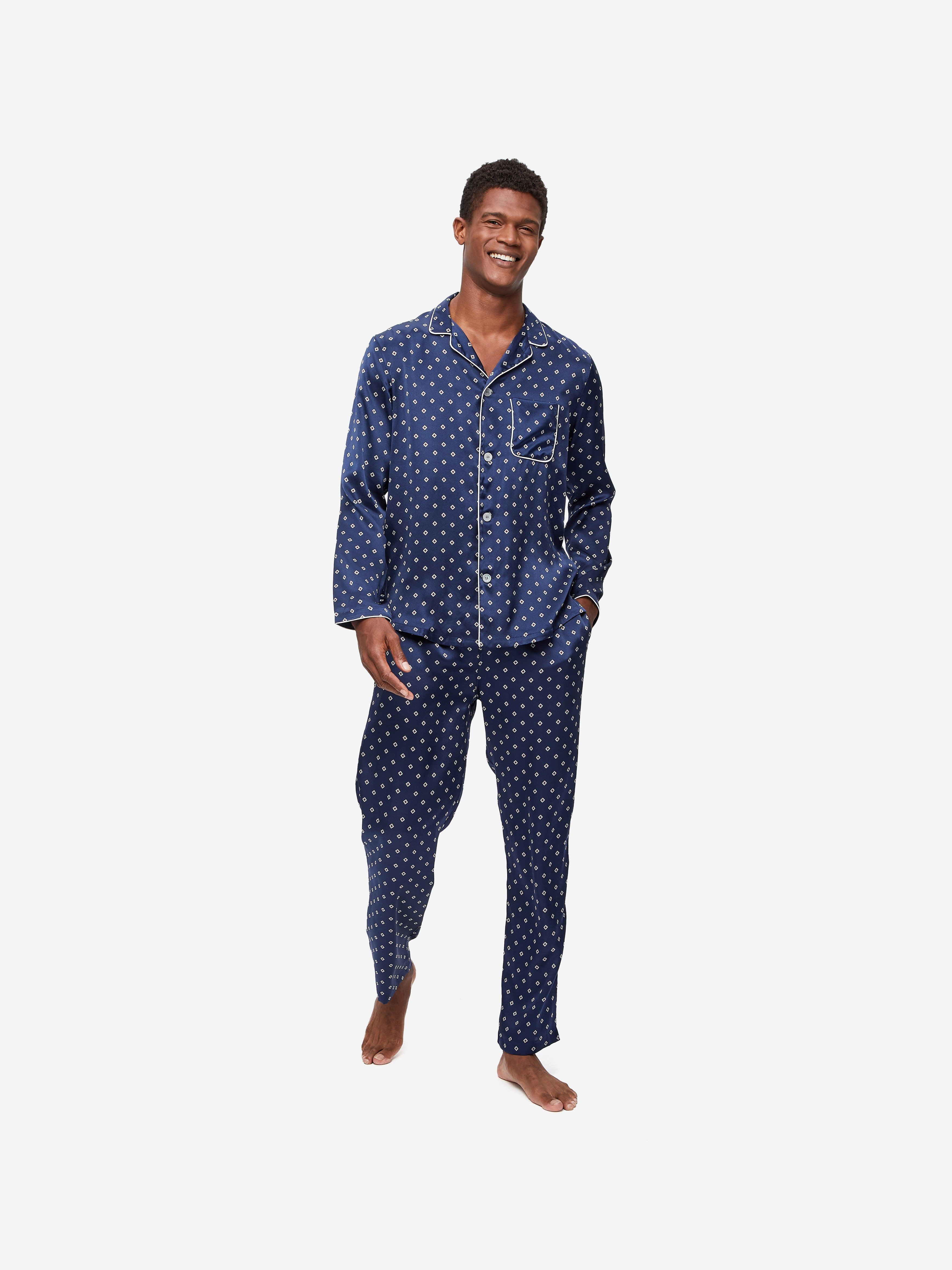 Men's Modern Fit Piped Pyjamas Brindisi 58 Pure Silk Satin Navy