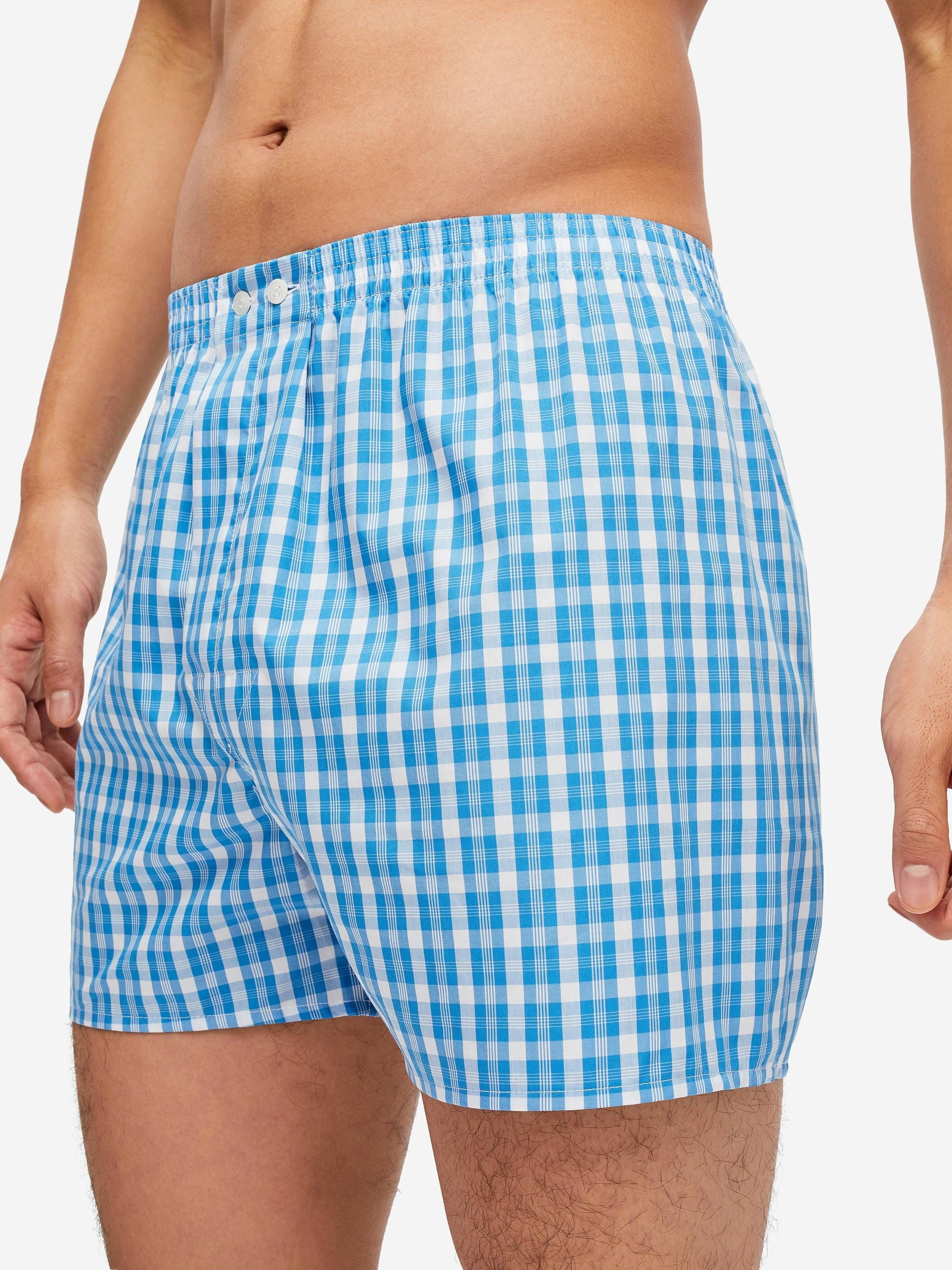 Men's Classic Fit Boxer Shorts Barker 29 Cotton Check Blue