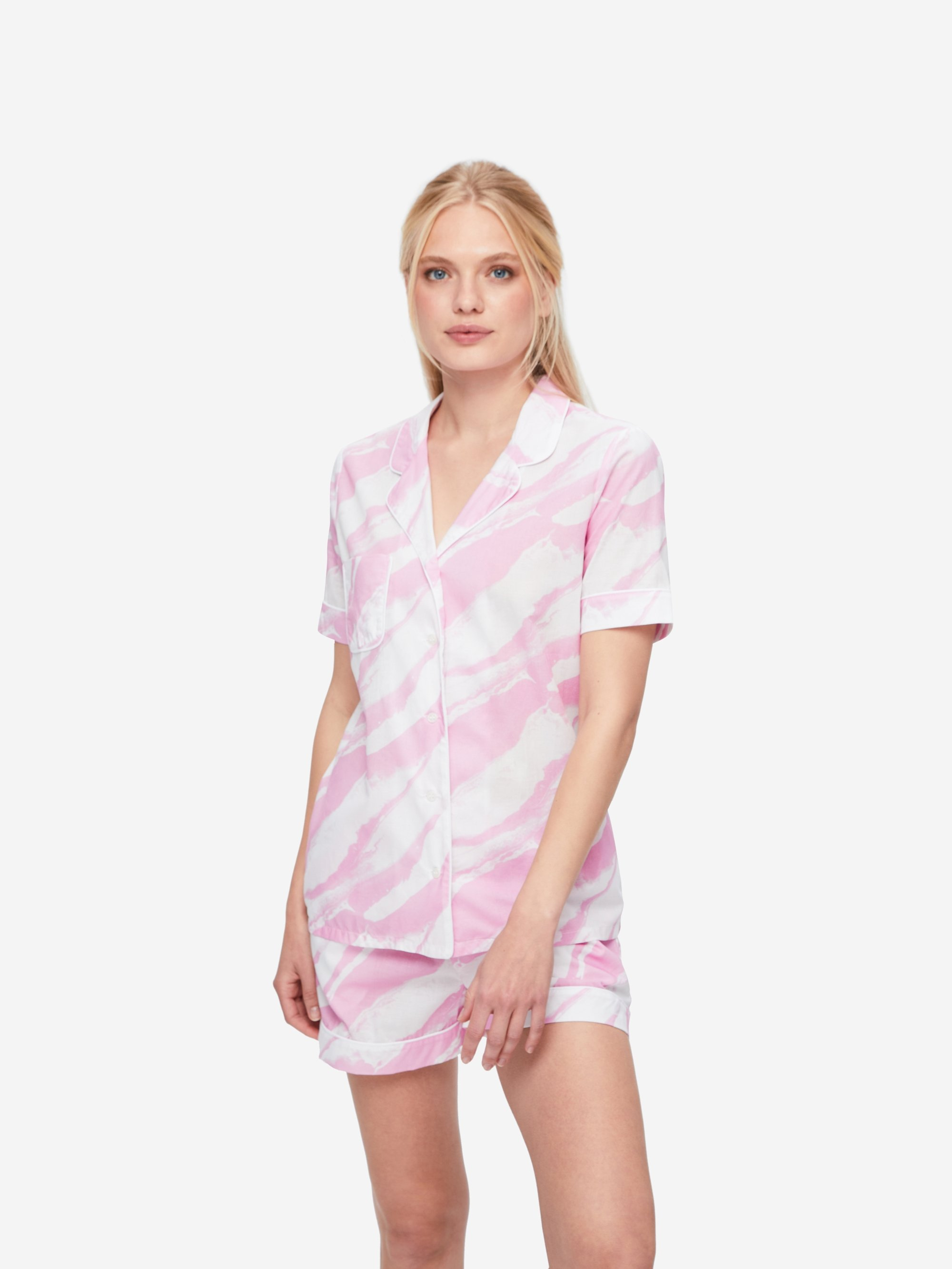 Women's Shortie Pyjamas Ledbury 38 Cotton Batiste Pink