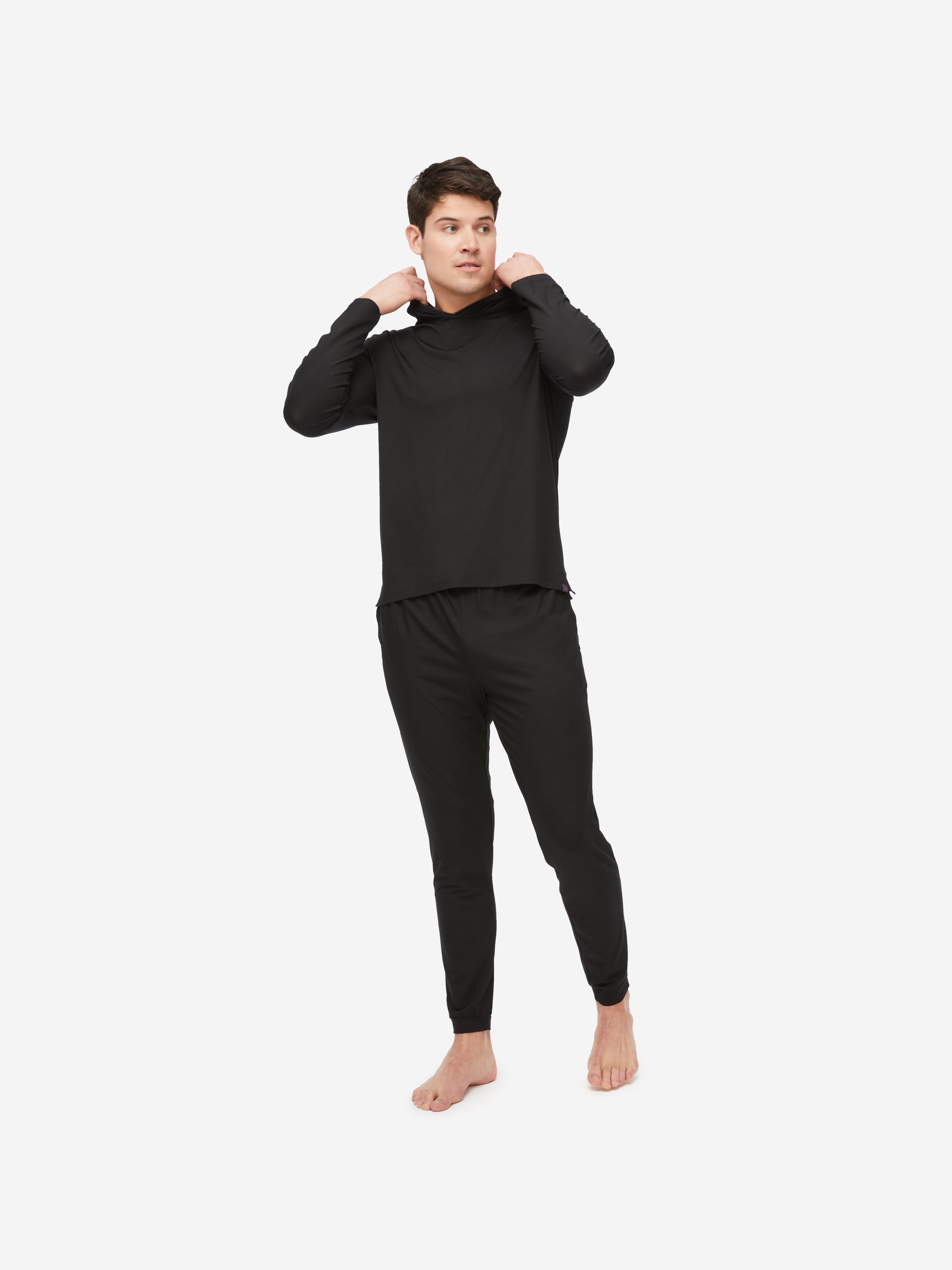 Men's Jersey Pullover Hoodie Basel Micro Modal Stretch Black
