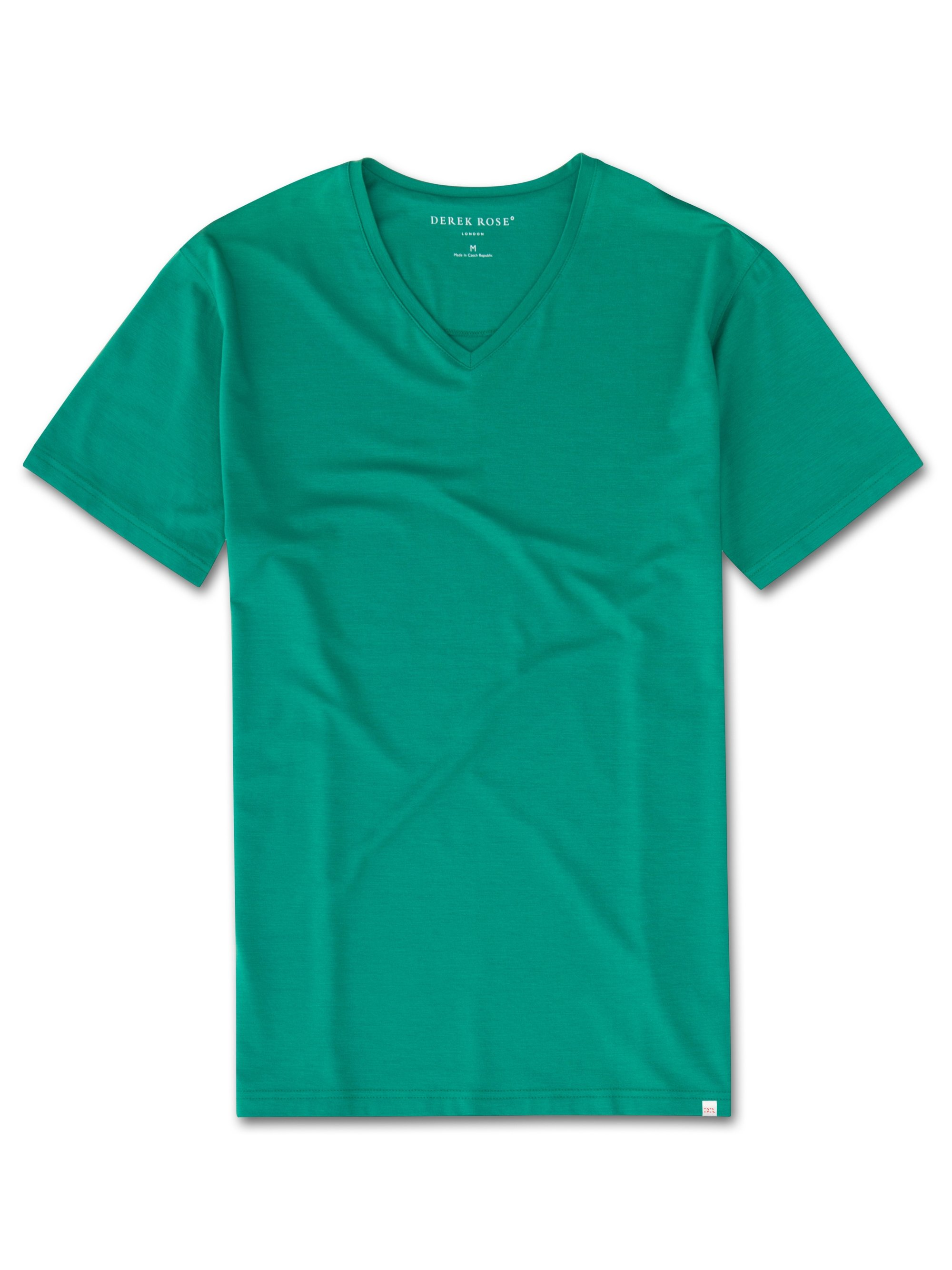Men's Short Sleeve V-Neck T-Shirt Basel 6 Micro Modal Stretch Green