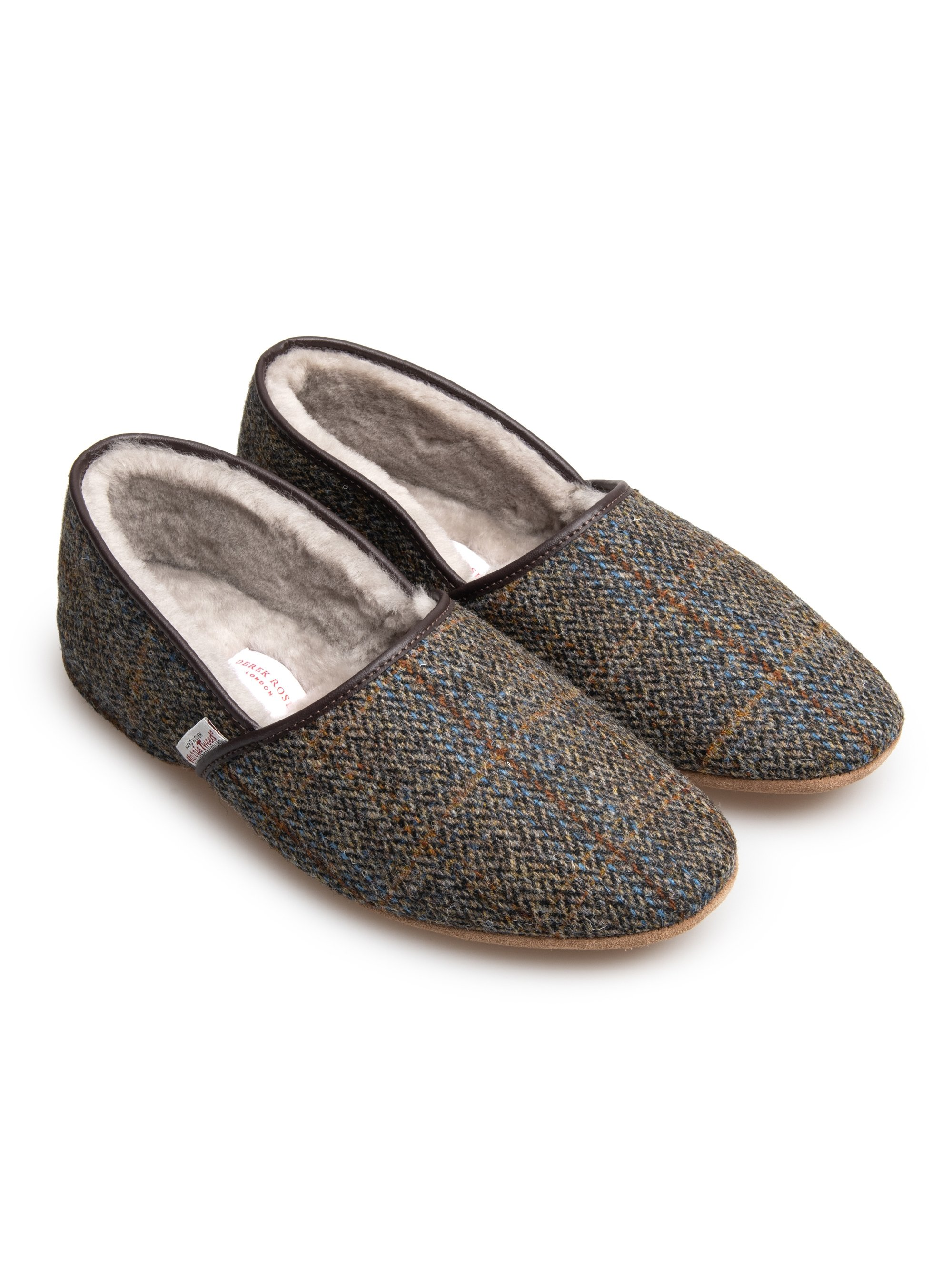 Men's Closed-Back Slipper Crawford 2 Harris Tweed Sheepskin Beige
