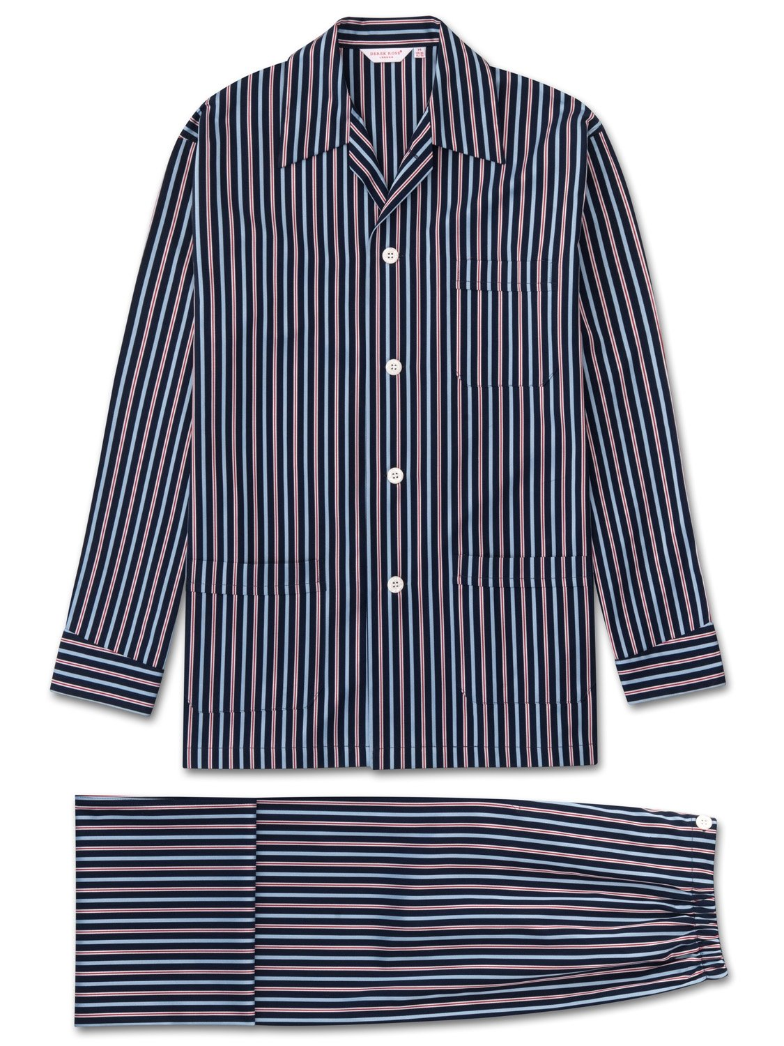 Men's Classic Fit Pyjamas Royal 206 Cotton Satin Stripe Navy