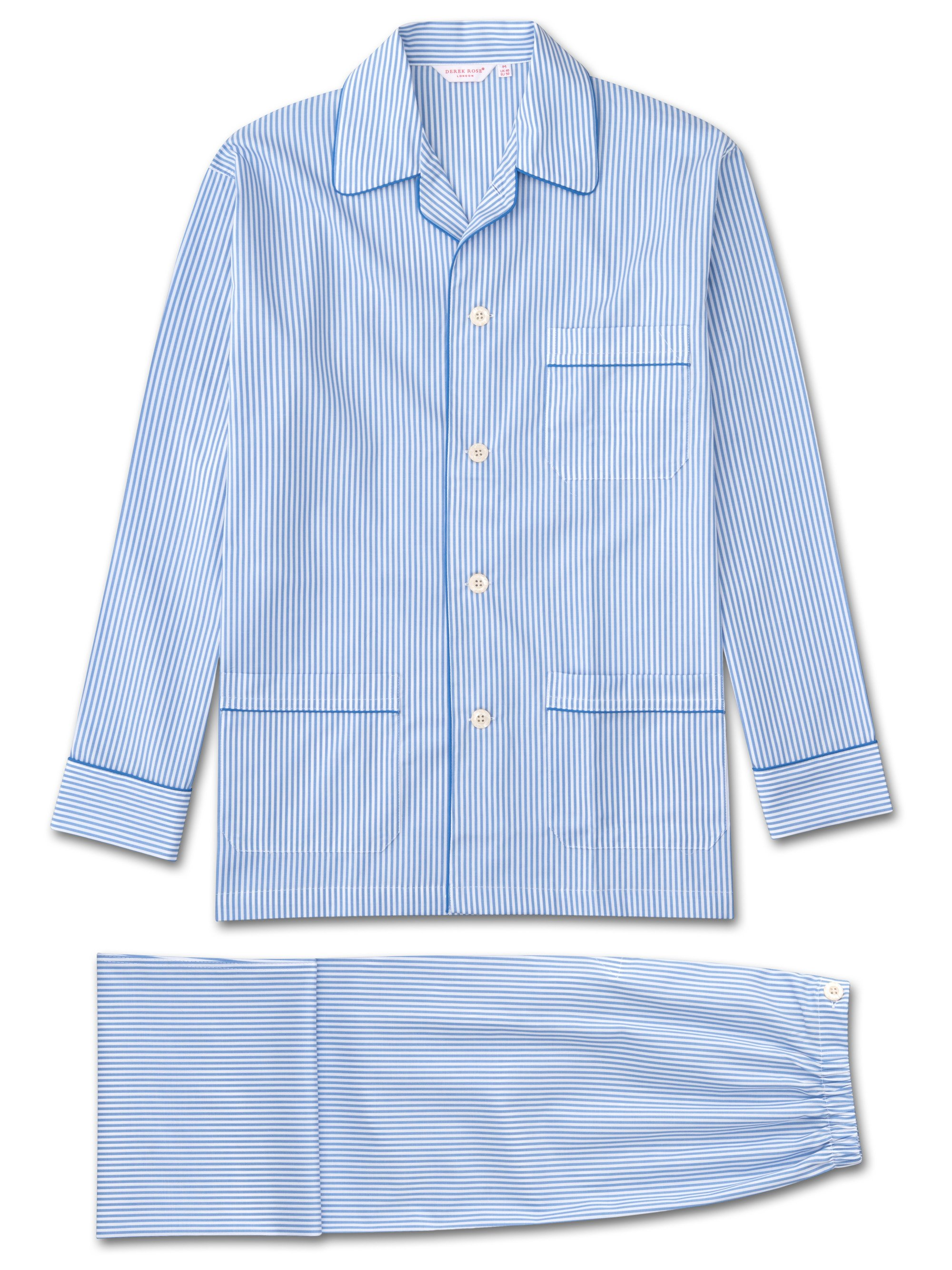 blue/white striped cotton men's pyjama