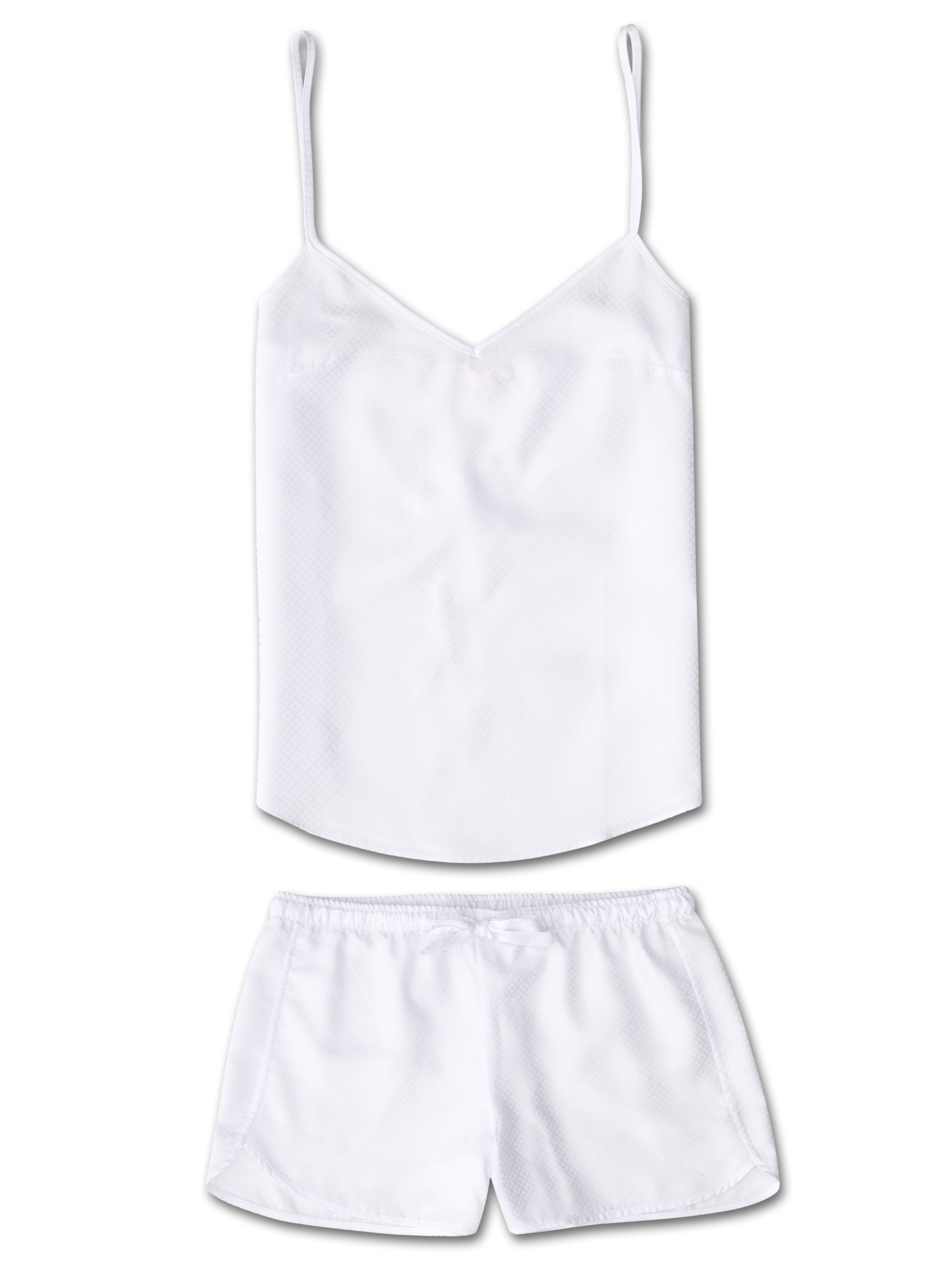 Women's Cami Short Pyjama Set Kate 2 Cotton Jacquard White