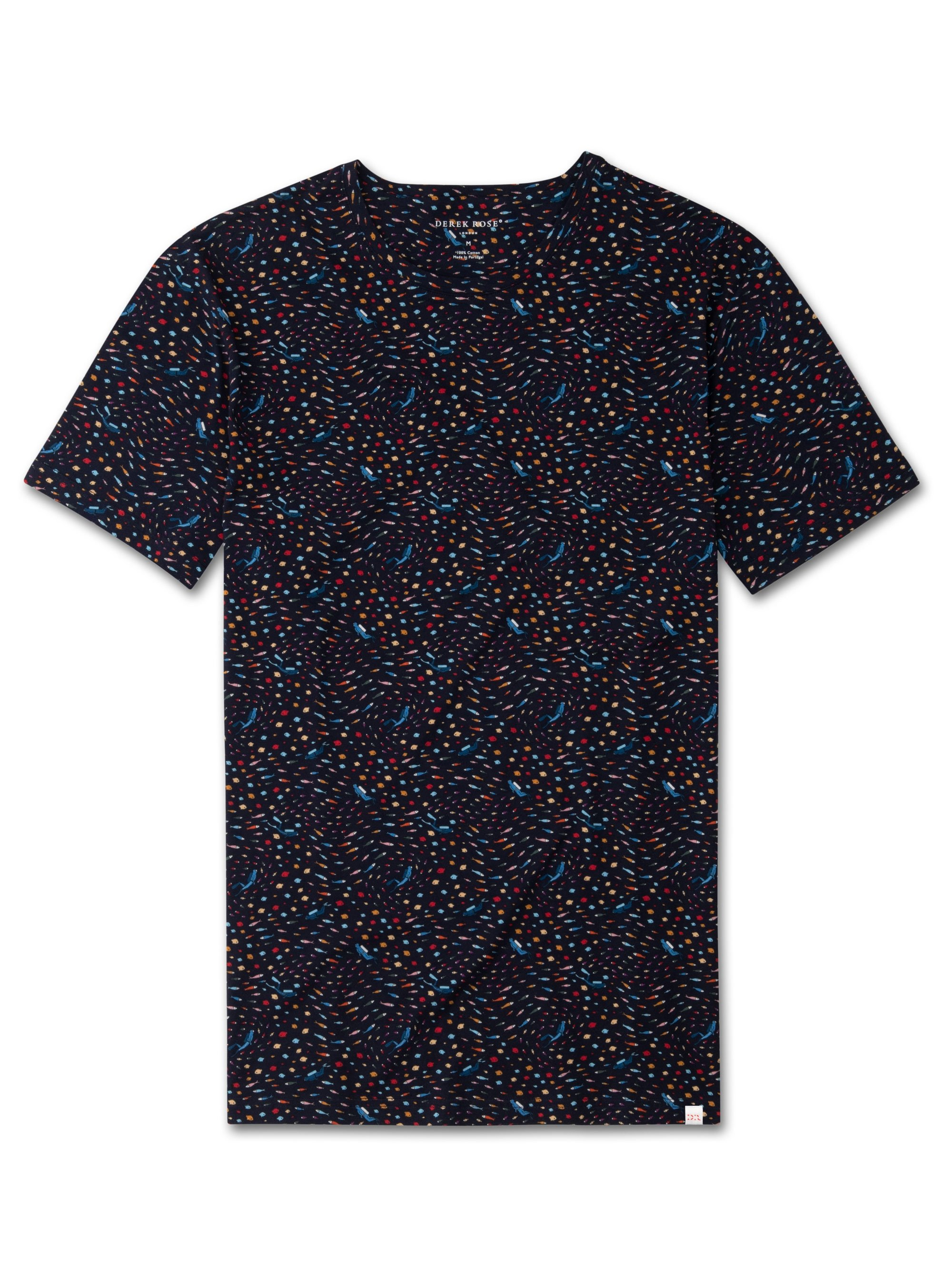 Men's Short Sleeve T-Shirt Robin 2 Carbon-Brushed Cotton Navy