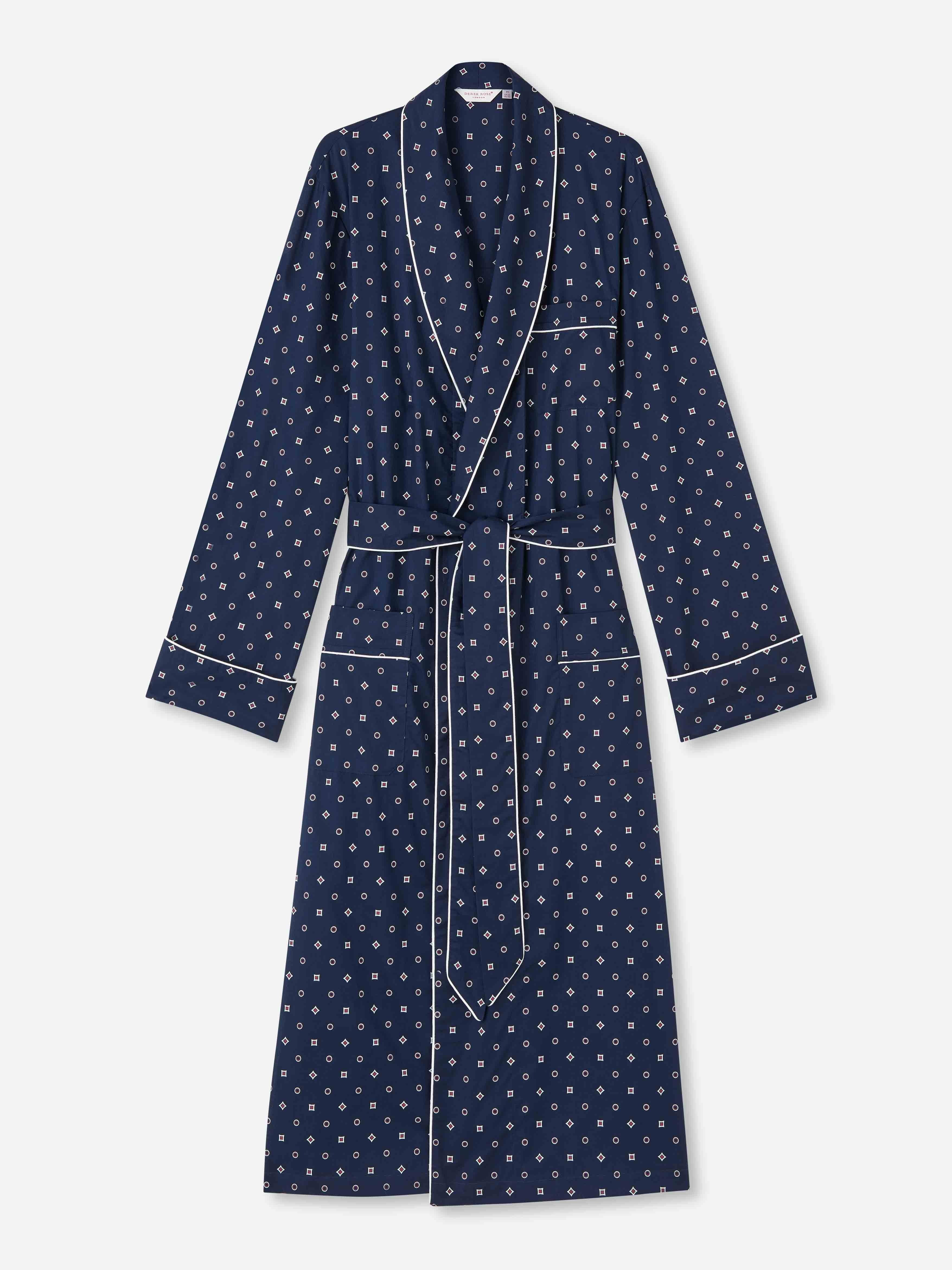 Men's Piped Dressing Gown Nelson 80 Cotton Batiste Navy