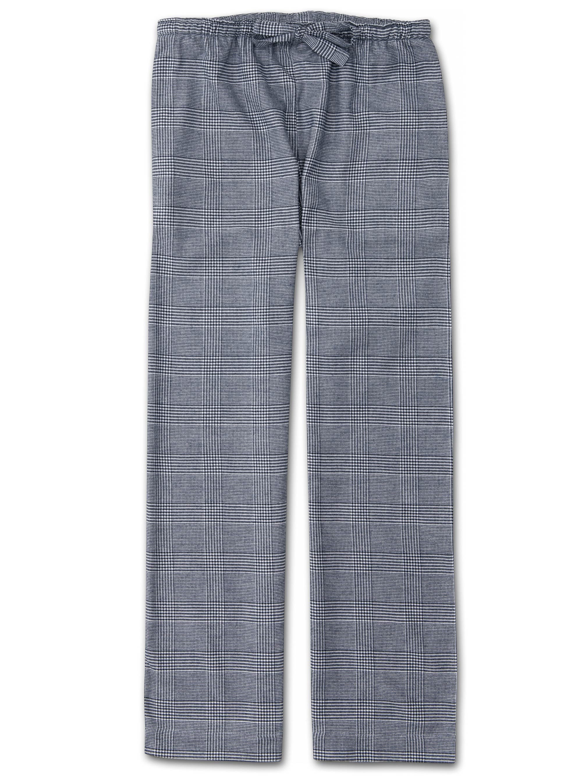 Women's Lounge Trousers Kelburn 10 Brushed Cotton Check Navy