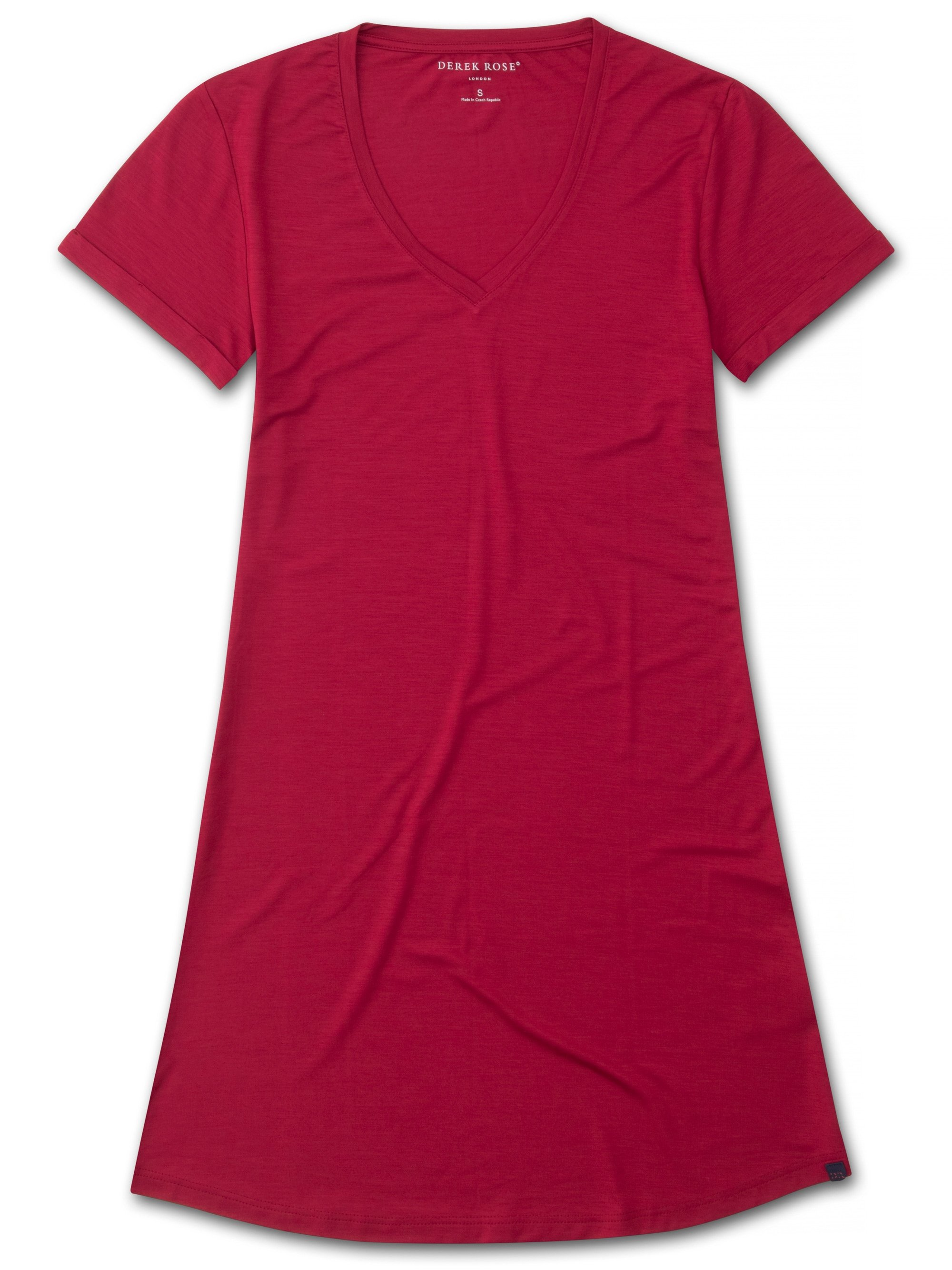 Women's V-Neck Sleep T-Shirt Lara Micro Modal Stretch Crimson