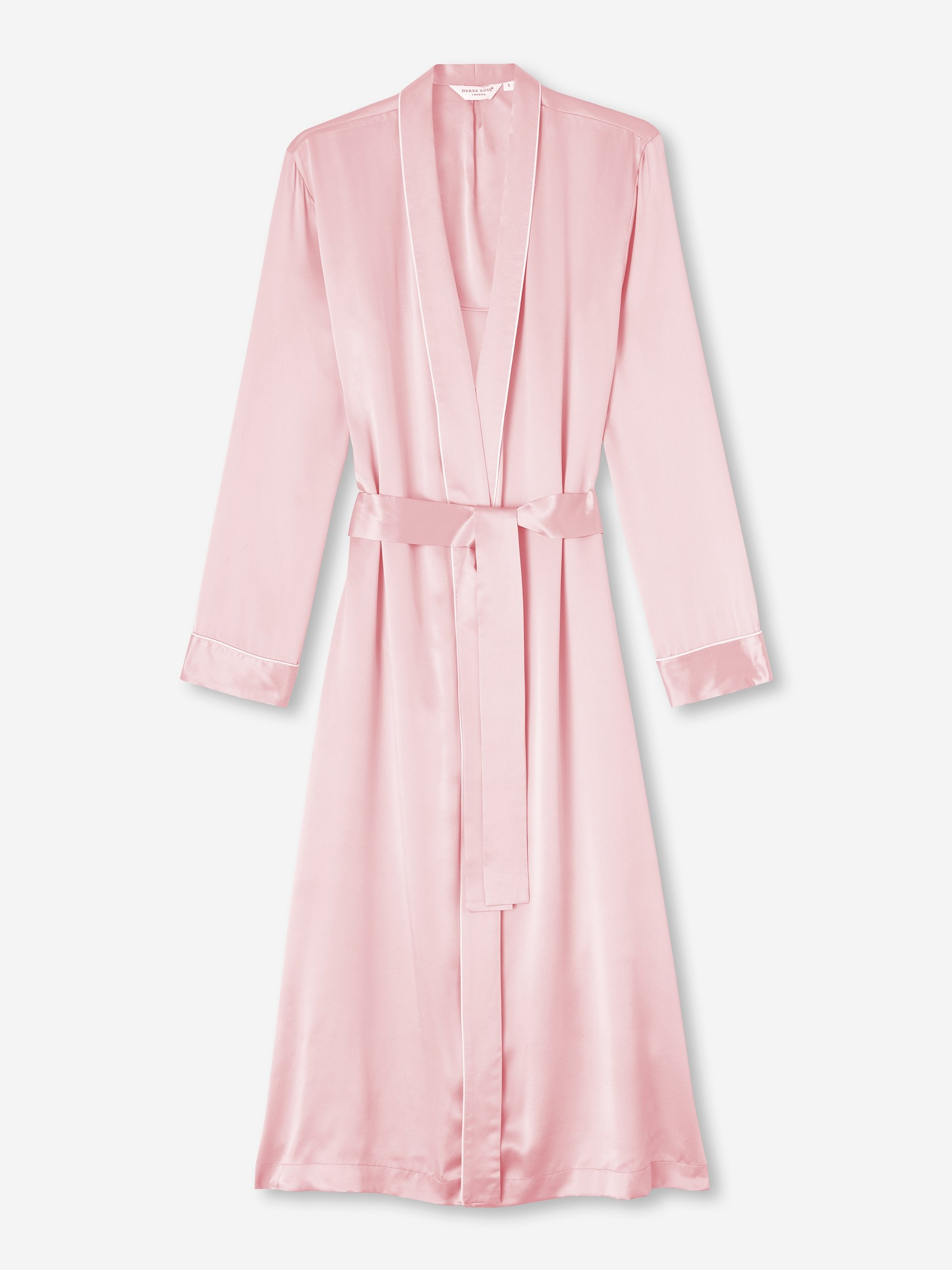 Women's Mid Length Dressing Gown Bailey 2 Pure Silk Satin Pink