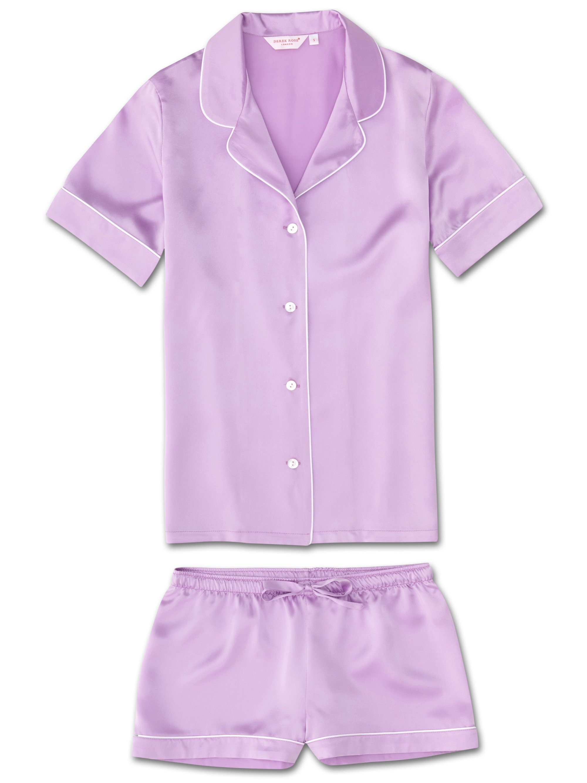 Women's Shortie Pyjamas Bailey Pure Silk Satin Lilac