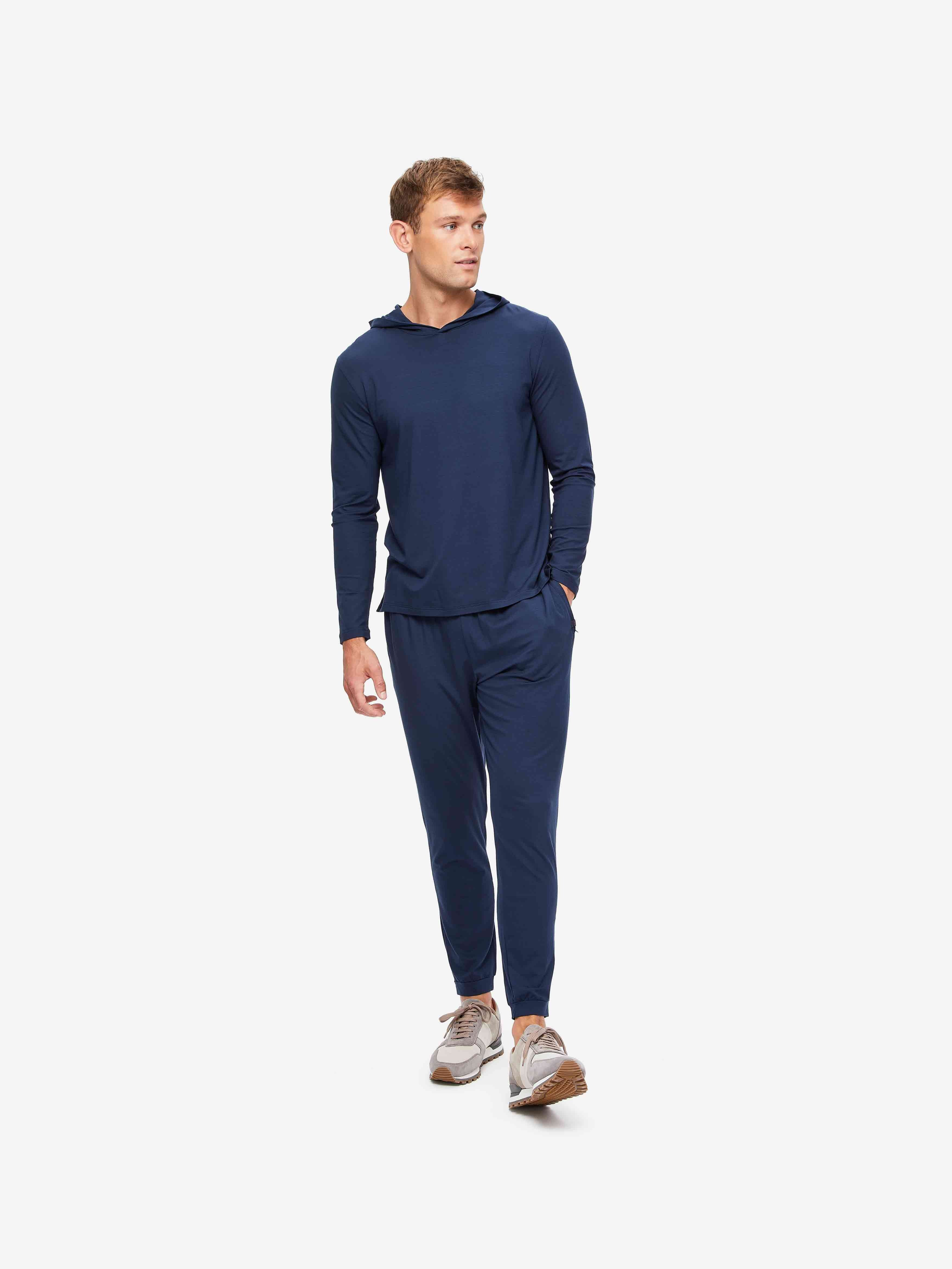 Men's Pullover Hoodie Basel Micro Modal Stretch Navy