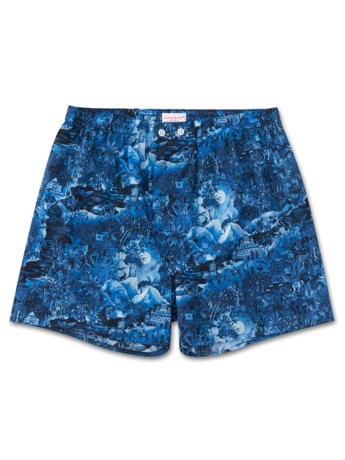 Men's Classic Fit Boxer Shorts Ledbury 10 Cotton Batiste Blue