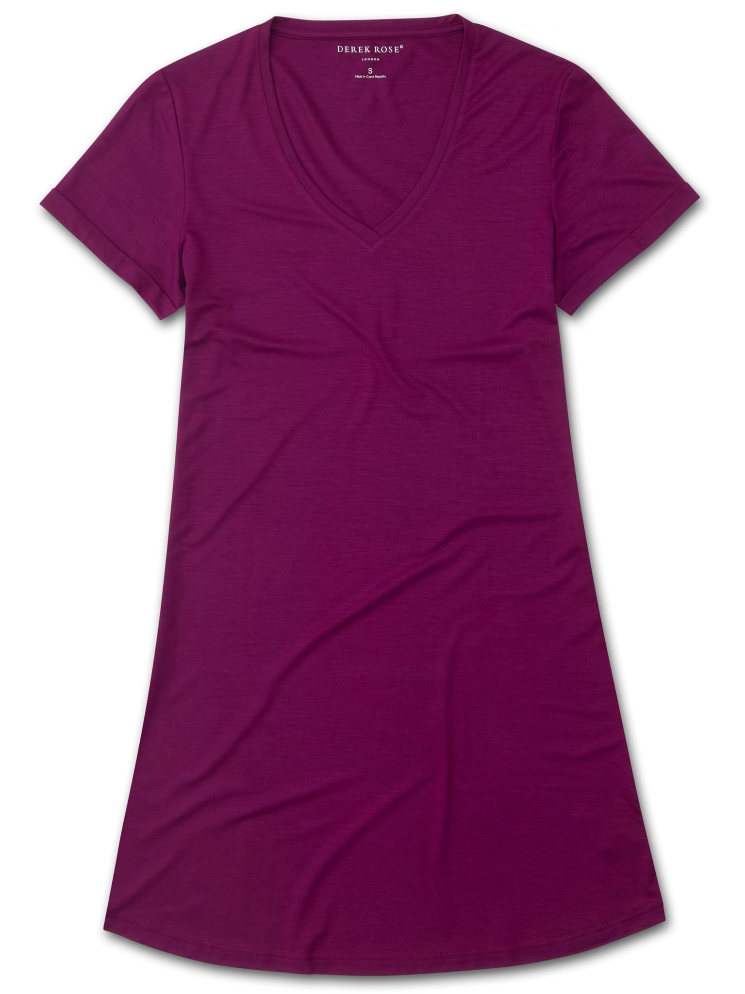 Women's V-Neck Sleep T-Shirt Lara Micro Modal Stretch Berry