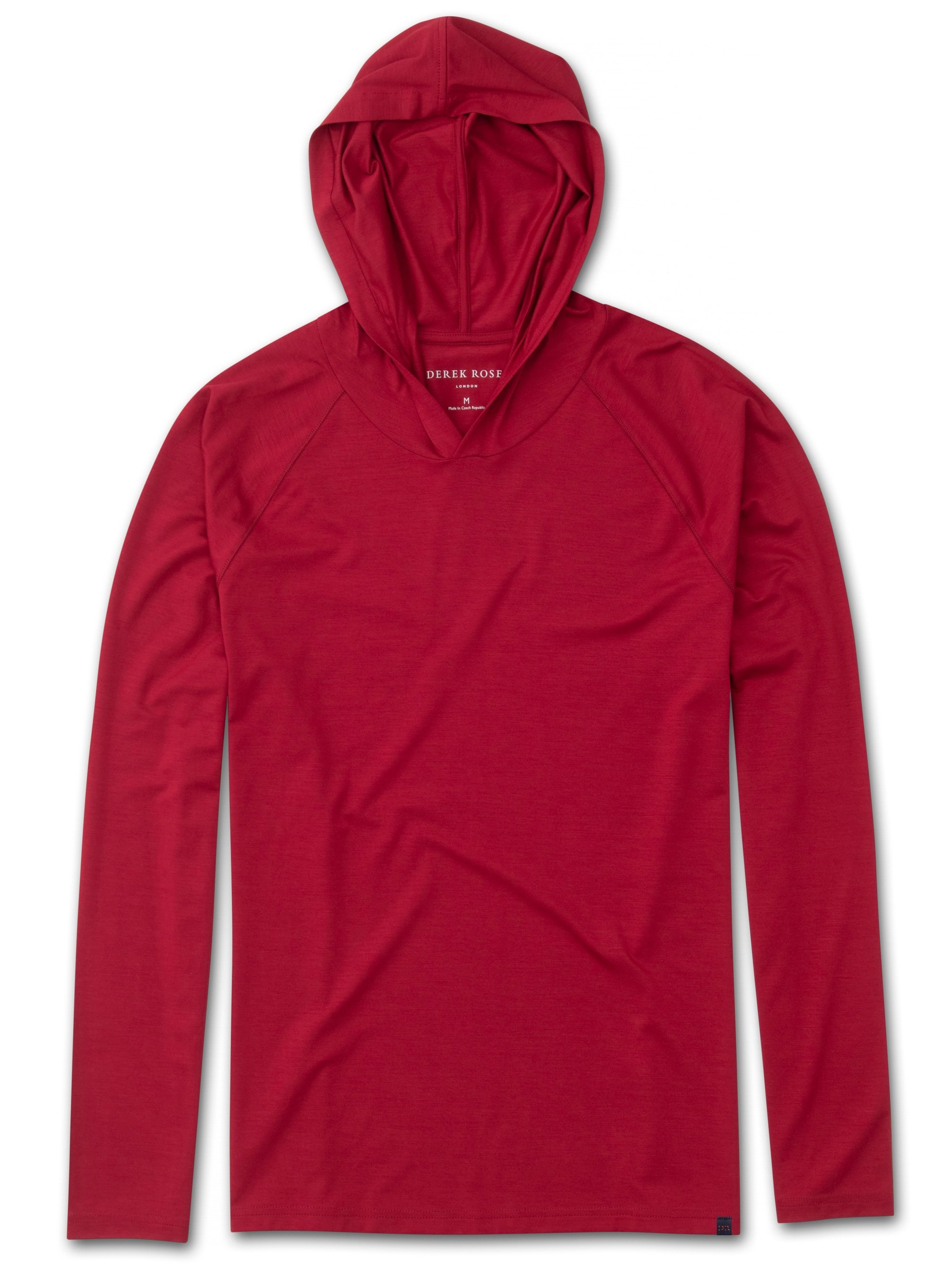 Men's Jersey Pullover Hoodie Basel 8 Micro Modal Stretch Red