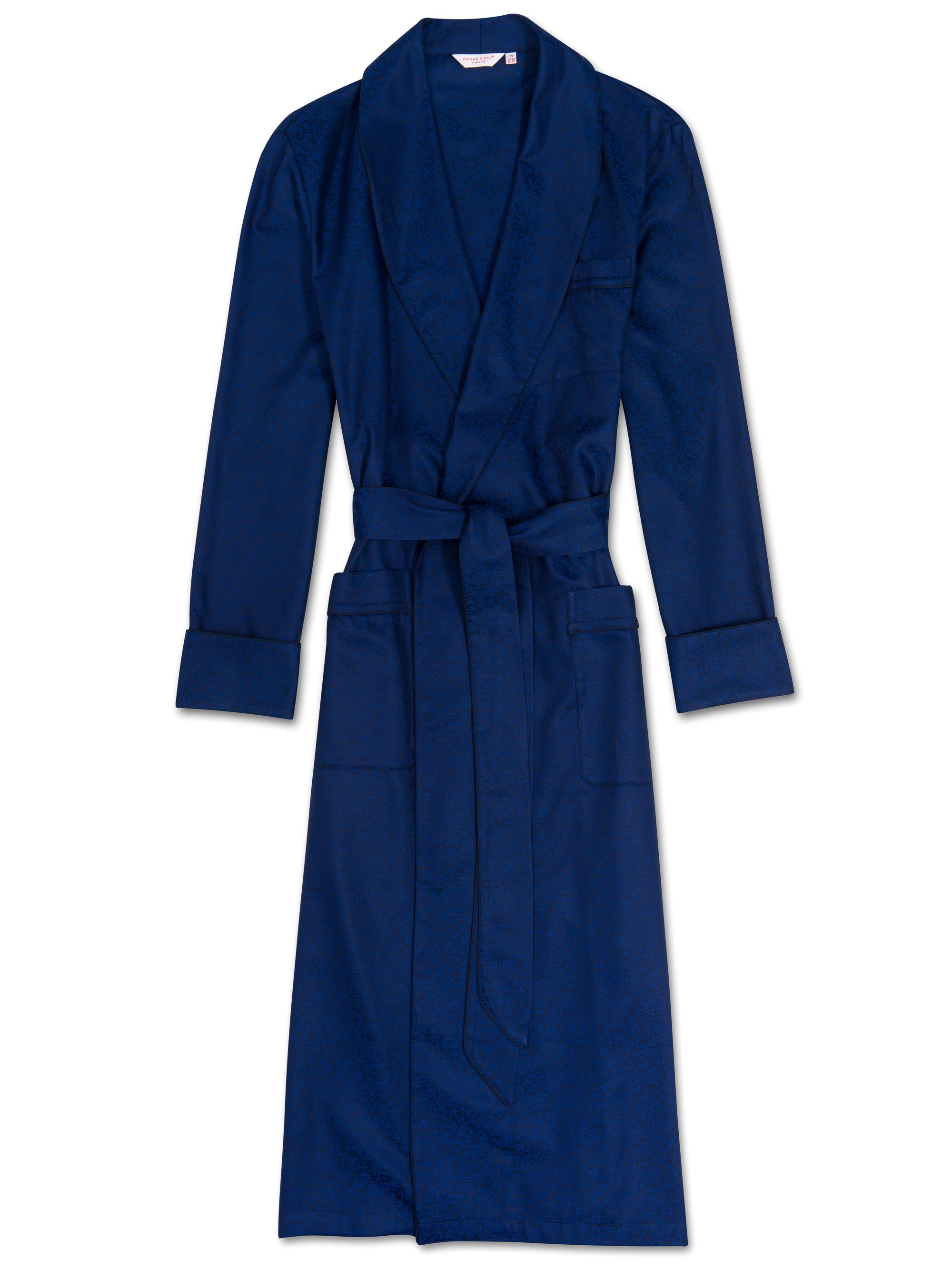 Men's Piped Dressing Gown Paris 7 Cotton Jacquard Cobalt