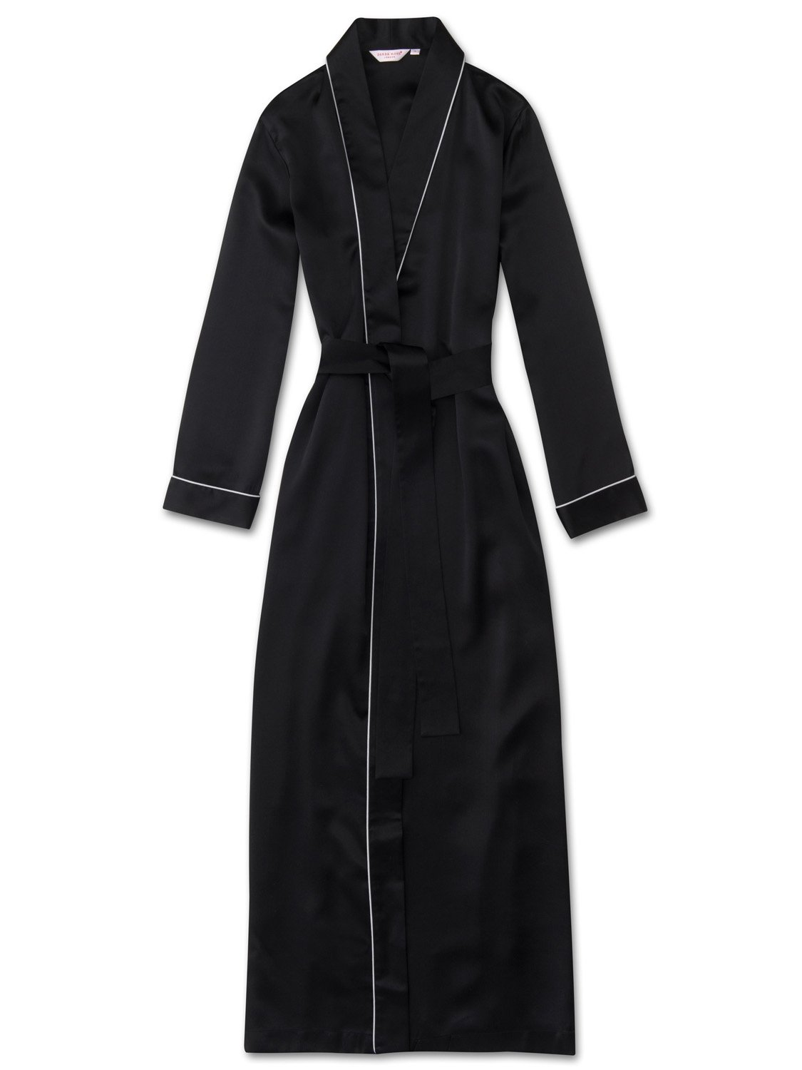 Women's Full Length Dressing Gown Bailey Pure Silk Satin Black