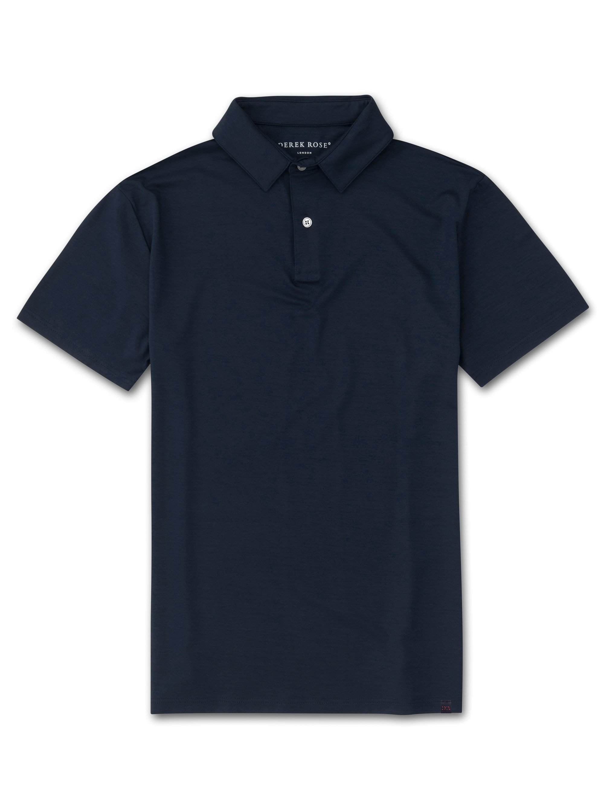 Men's Short Sleeve Polo Shirt Ramsay Pique Cotton Tencel Navy