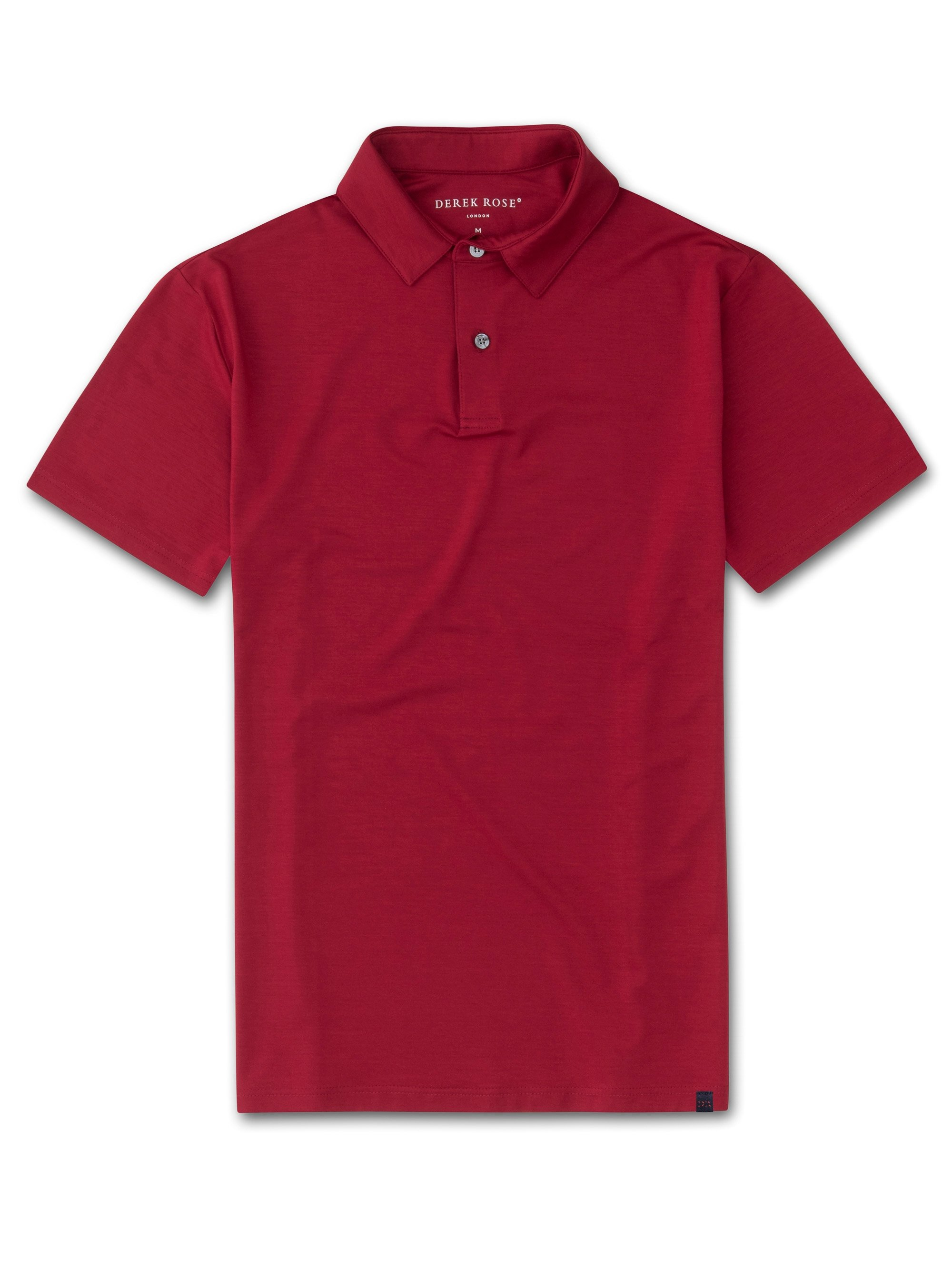 Men's Short Sleeve Polo Shirt Basel 8 Micro Modal Stretch Red