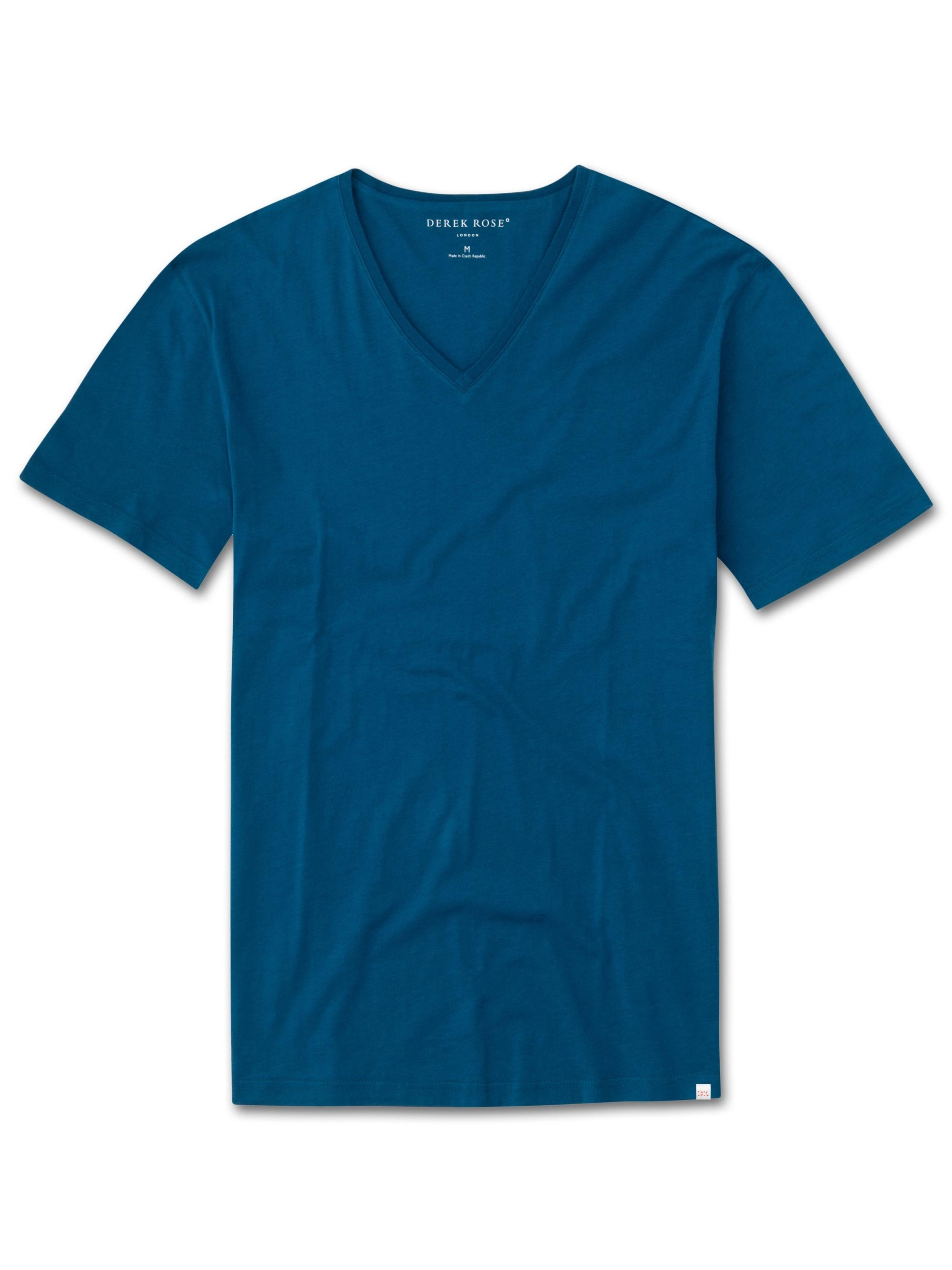 Men's Short Sleeve V-Neck T-Shirt Riley 2 Pima Cotton Ocean