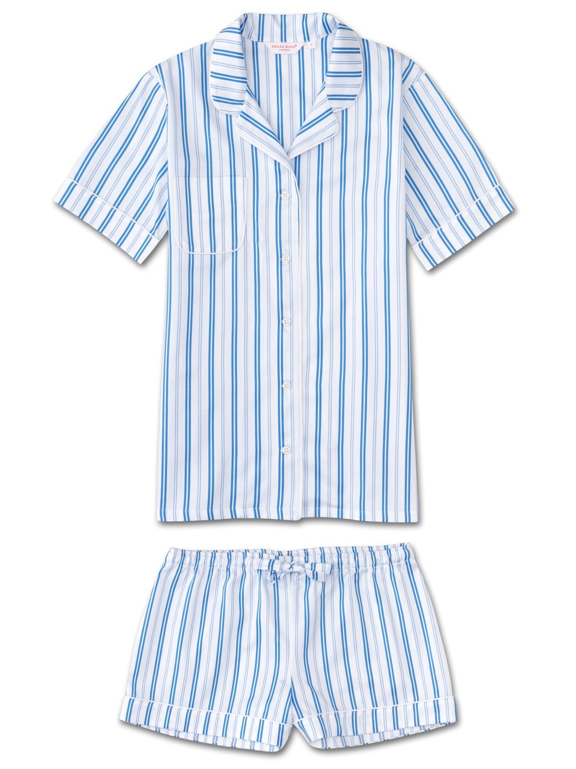 Women's Shortie Pyjamas Wellington 46 Cotton Full Satin Stripe White