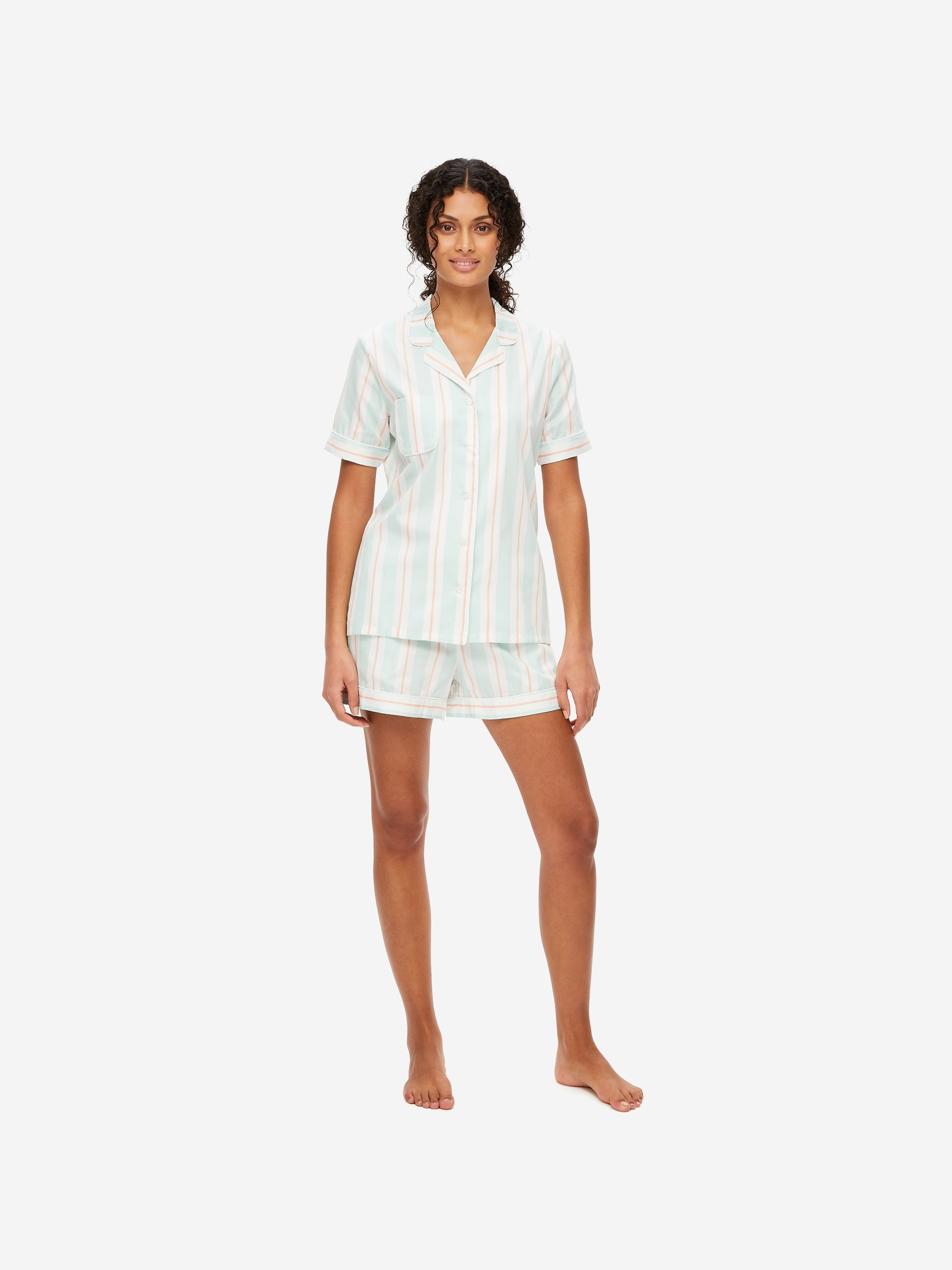 Women's Shortie Pyjamas Milly 9 Cotton Full Satin Stripe Mint