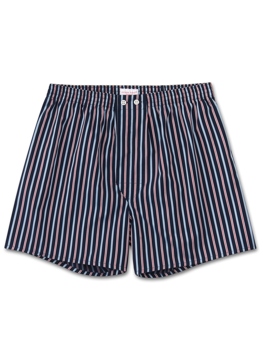 Men's Classic Fit Boxer Shorts Royal 206 Cotton Satin Stripe Navy