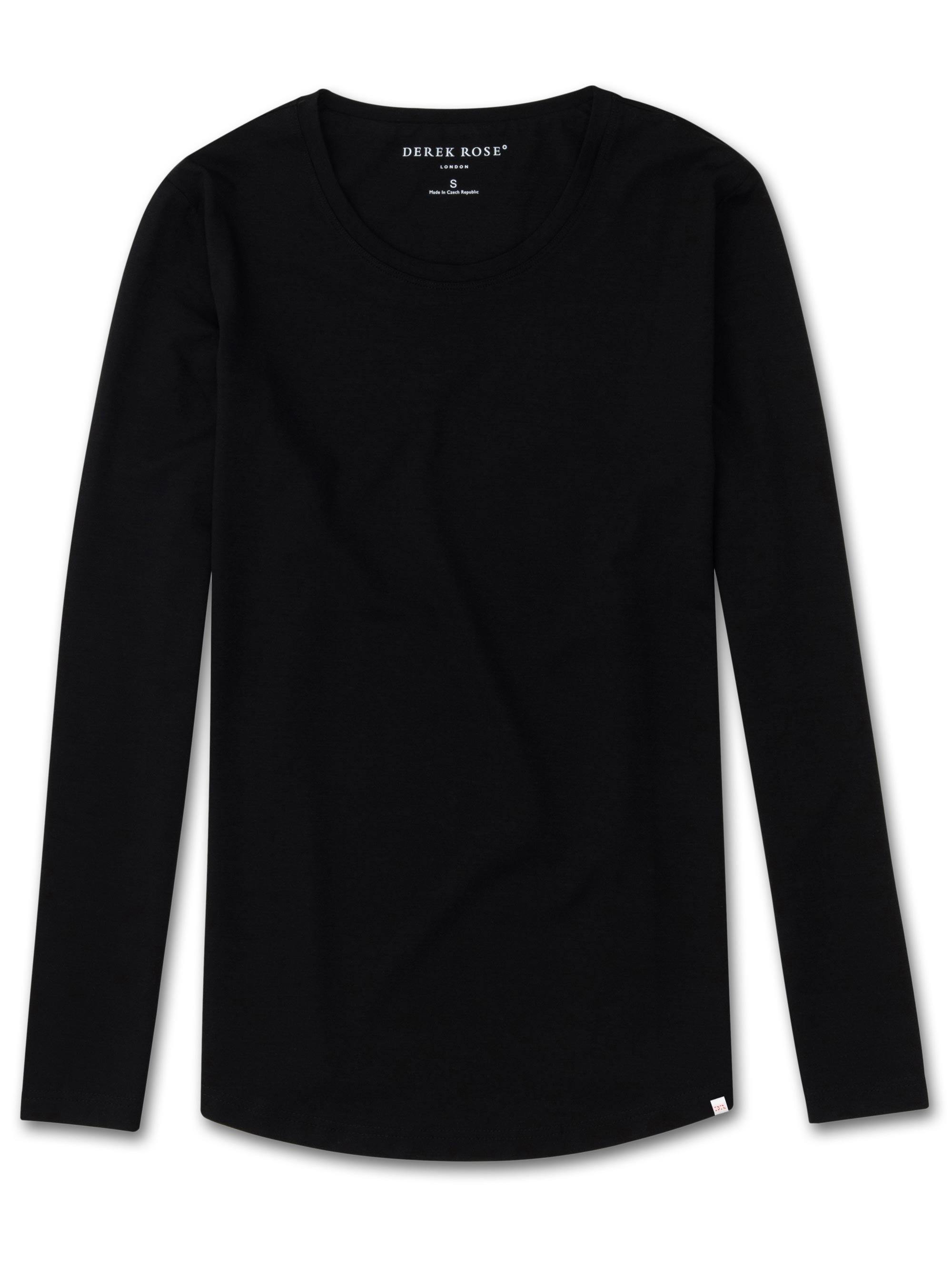 Women's Long Sleeve T-Shirt Lara Micro Modal Stretch Black