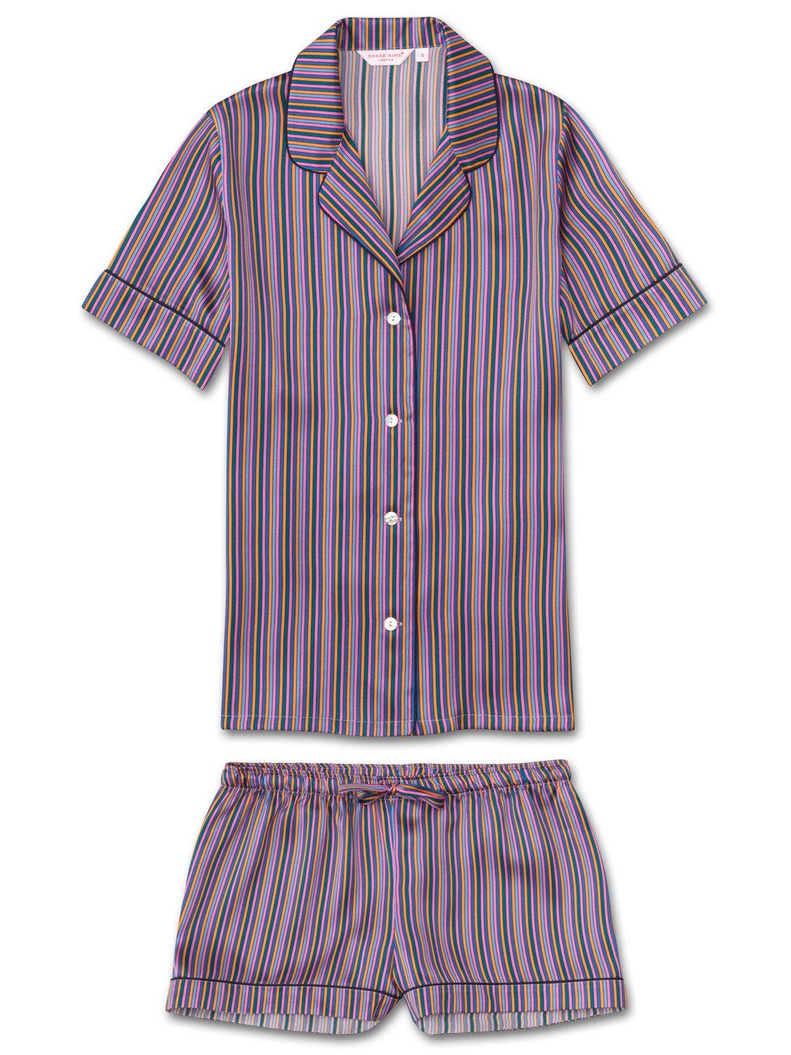 Women's Shortie Pyjamas Brindisi 21 Pure Silk Satin Multi