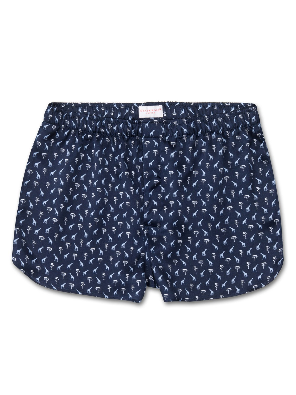 Men's Modern Fit Boxer Shorts Brindisi 18 Pure Silk Satin Navy