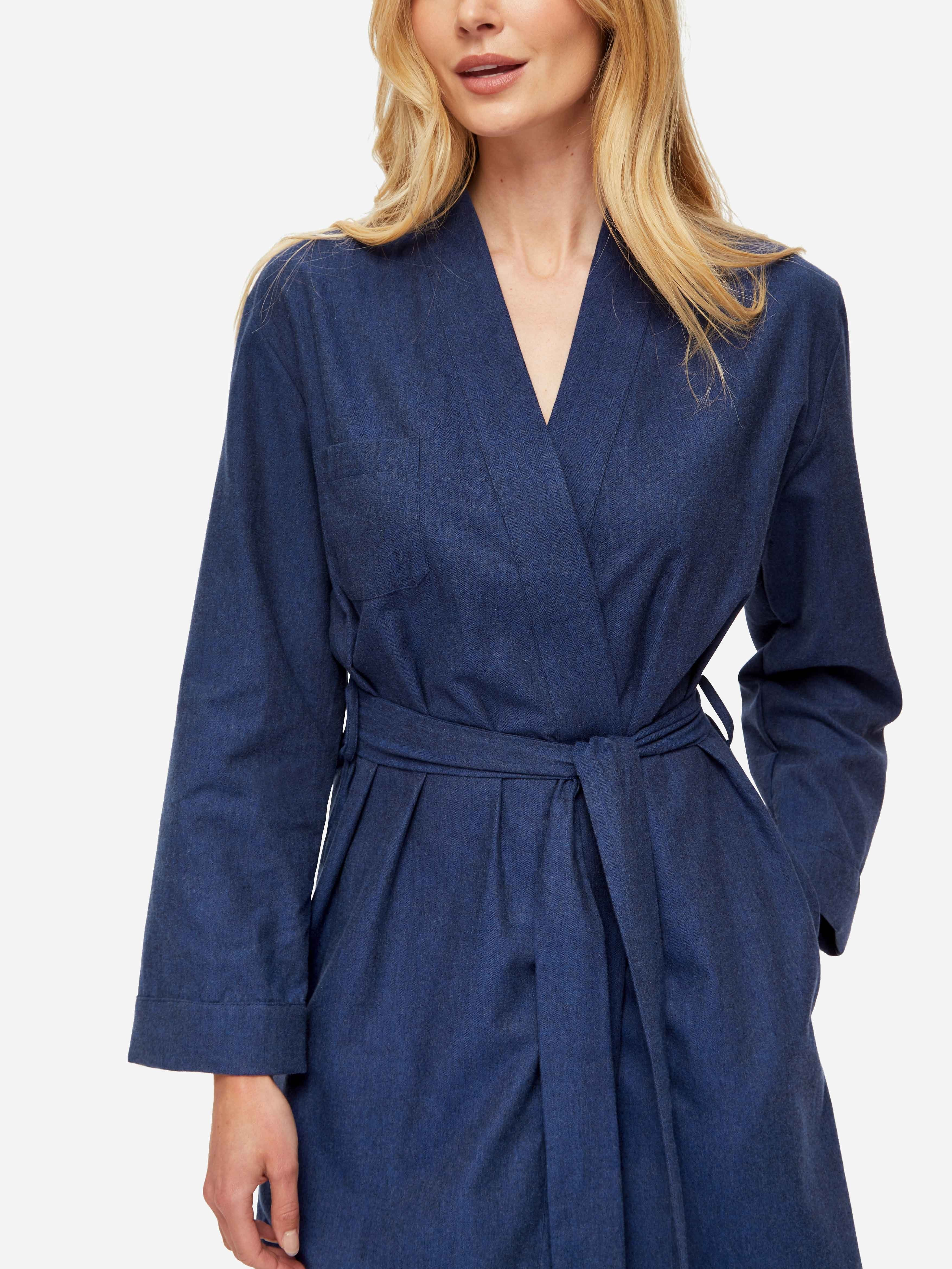 Women's Mid Dressing Gown Balmoral 3 Brushed Cotton Navy