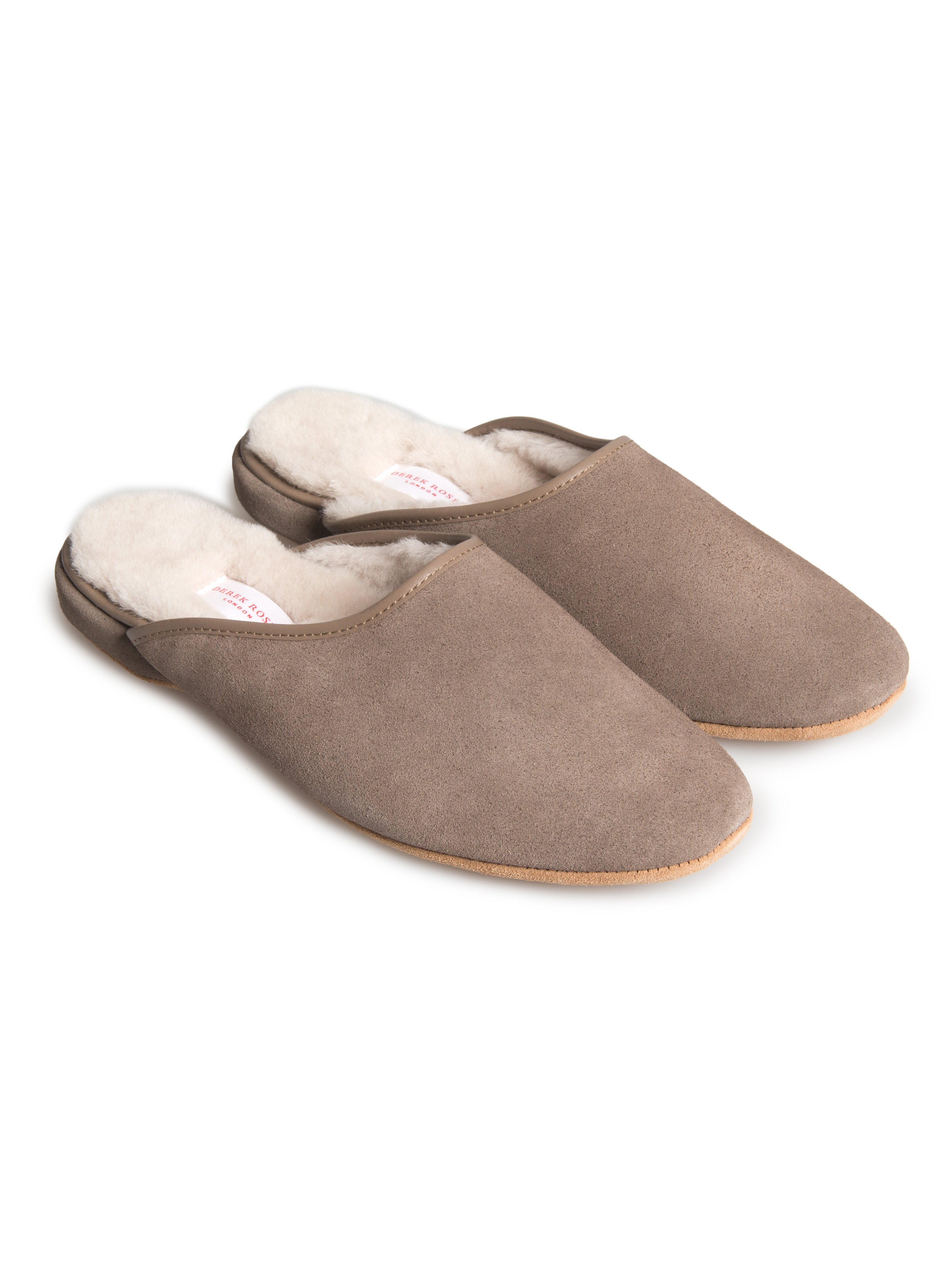 Men's Open-Back Slipper Douglas Suede Sheepskin Beige
