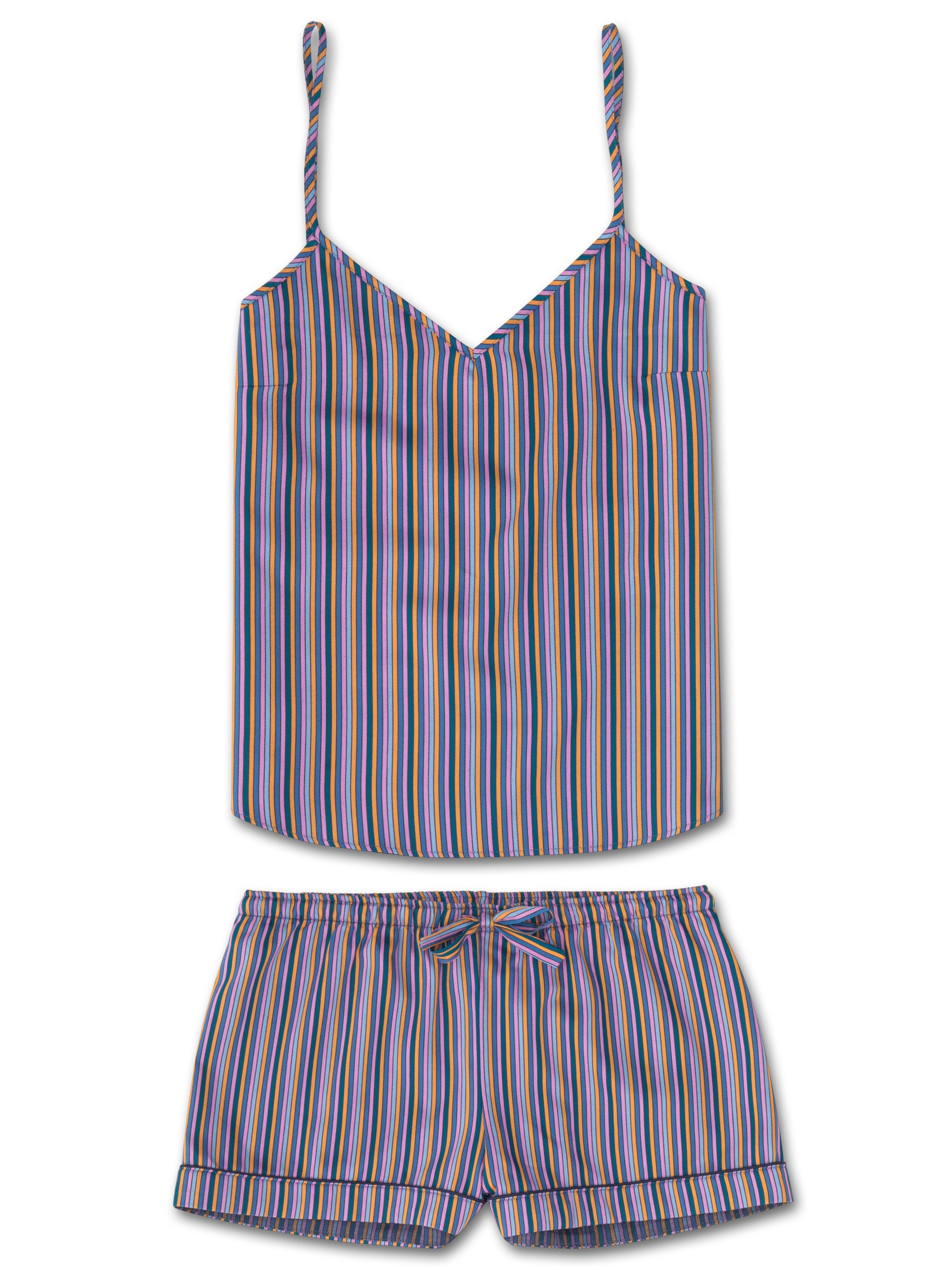 Women's Cami Short Pyjama Set Milly 5 Cotton Full Satin Stripe Multi