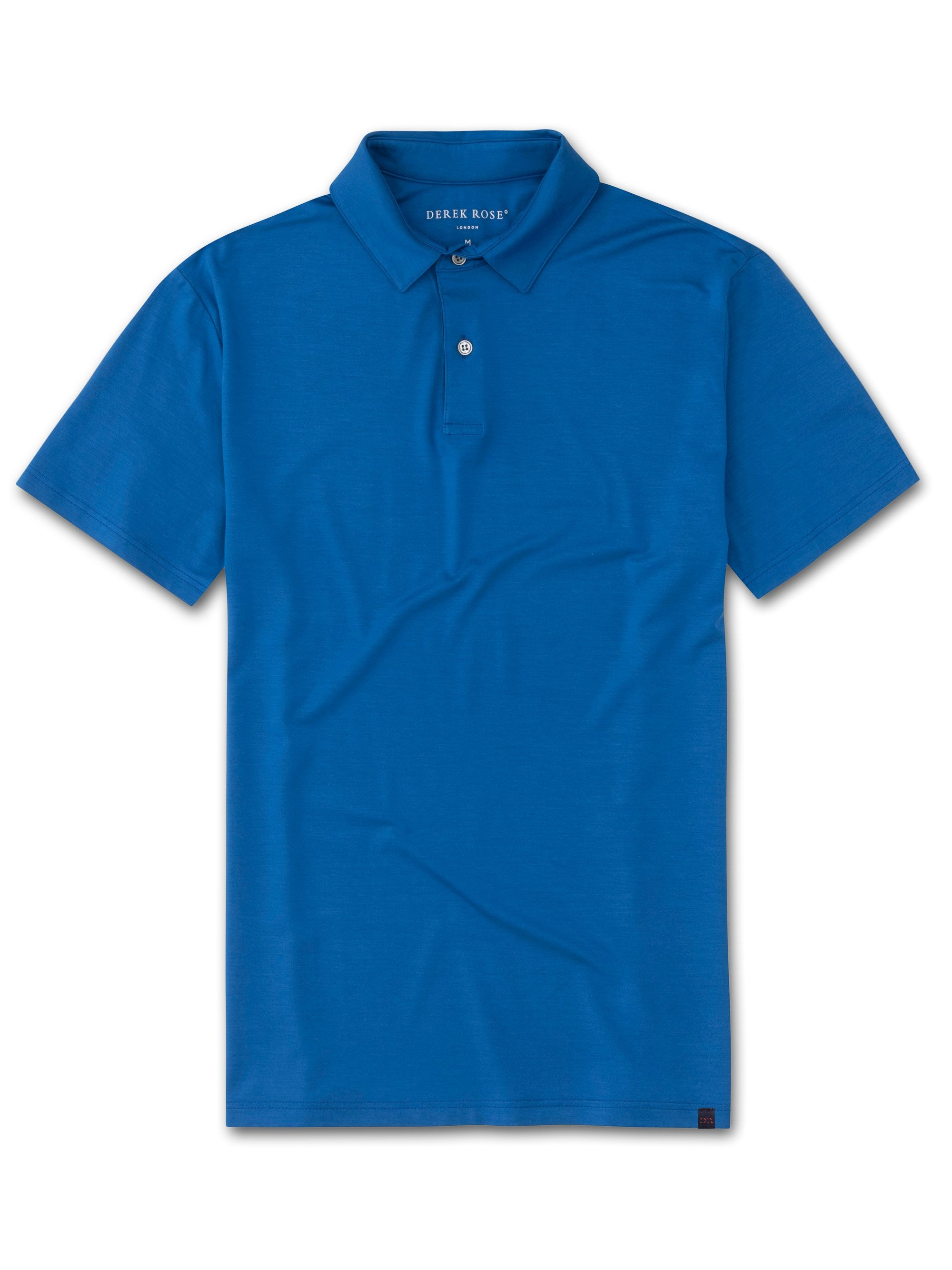 Men's Short Sleeve Polo Shirt Basel 8 Micro Modal Stretch Blue