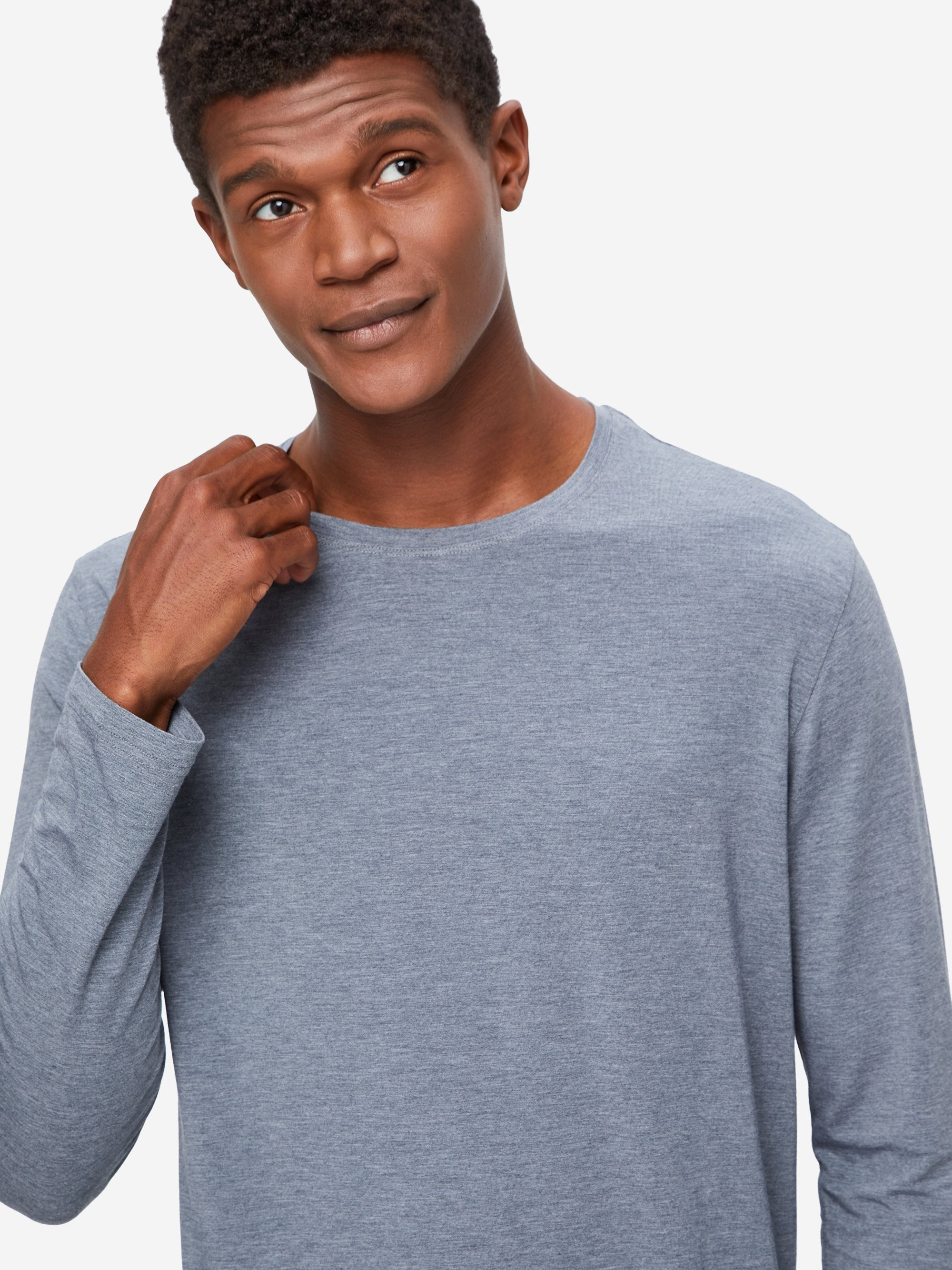 Men's Long Sleeve T-Shirt Marlowe Micro Modal Stretch Charcoal