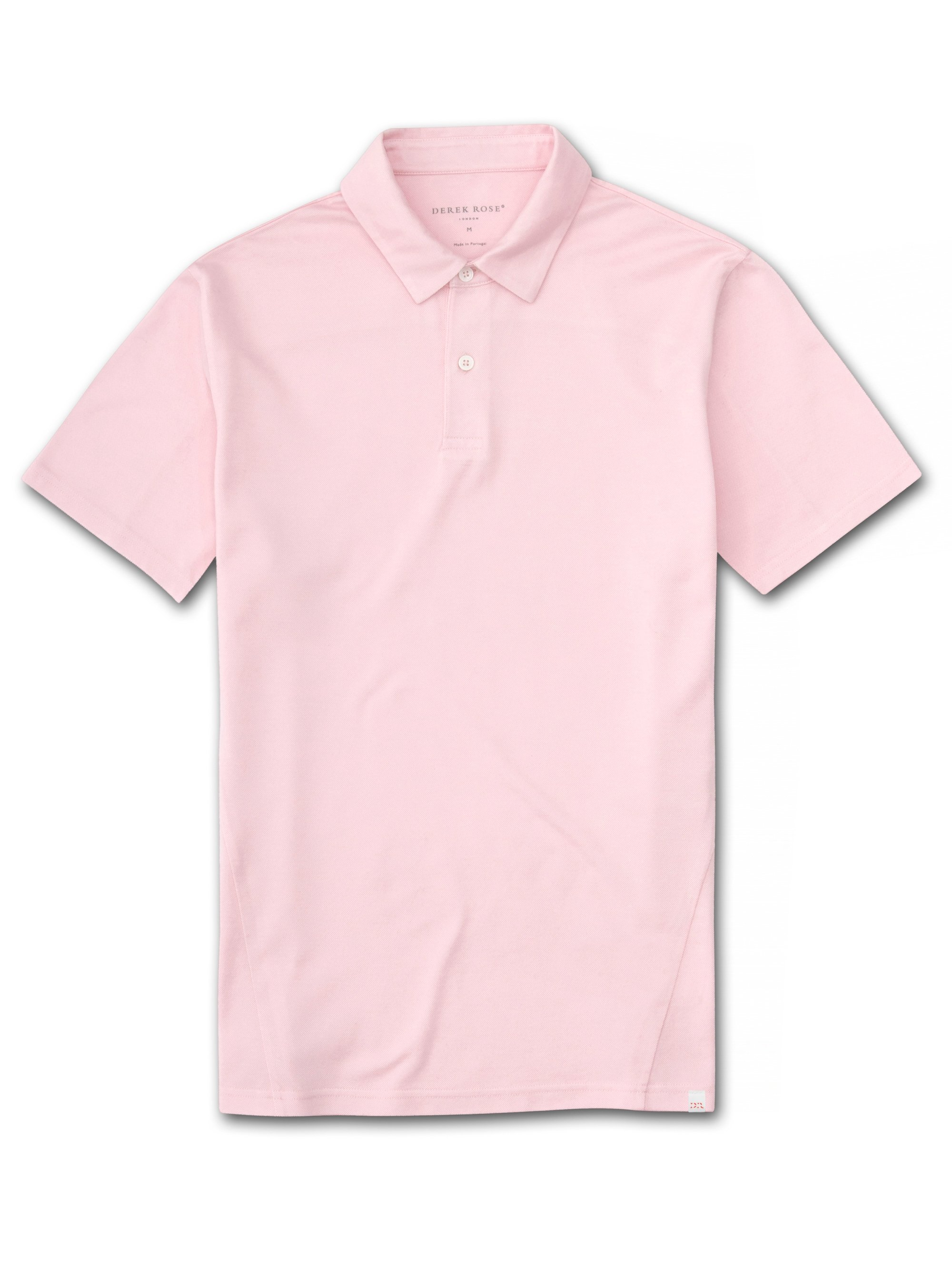 Men's Short Sleeve Polo Shirt Ramsay Pique Cotton Tencel Pink