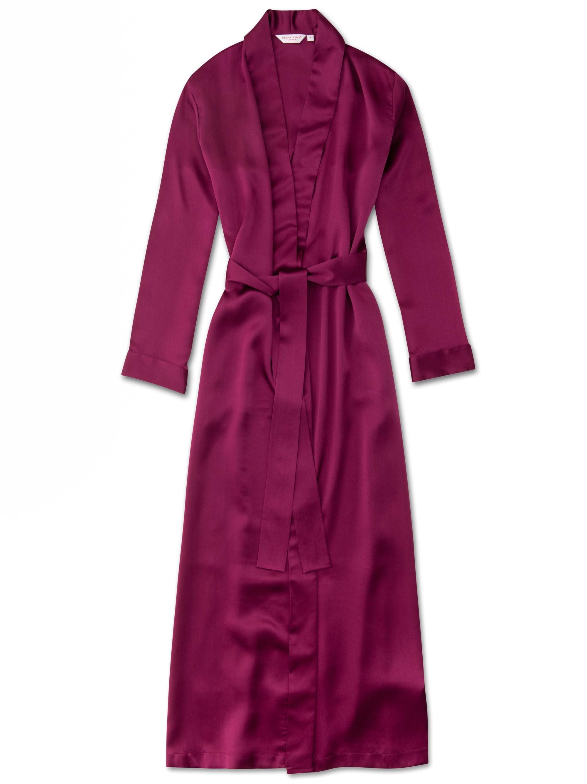 Women's Full Length Dressing Gown Bailey Pure Silk Satin Berry