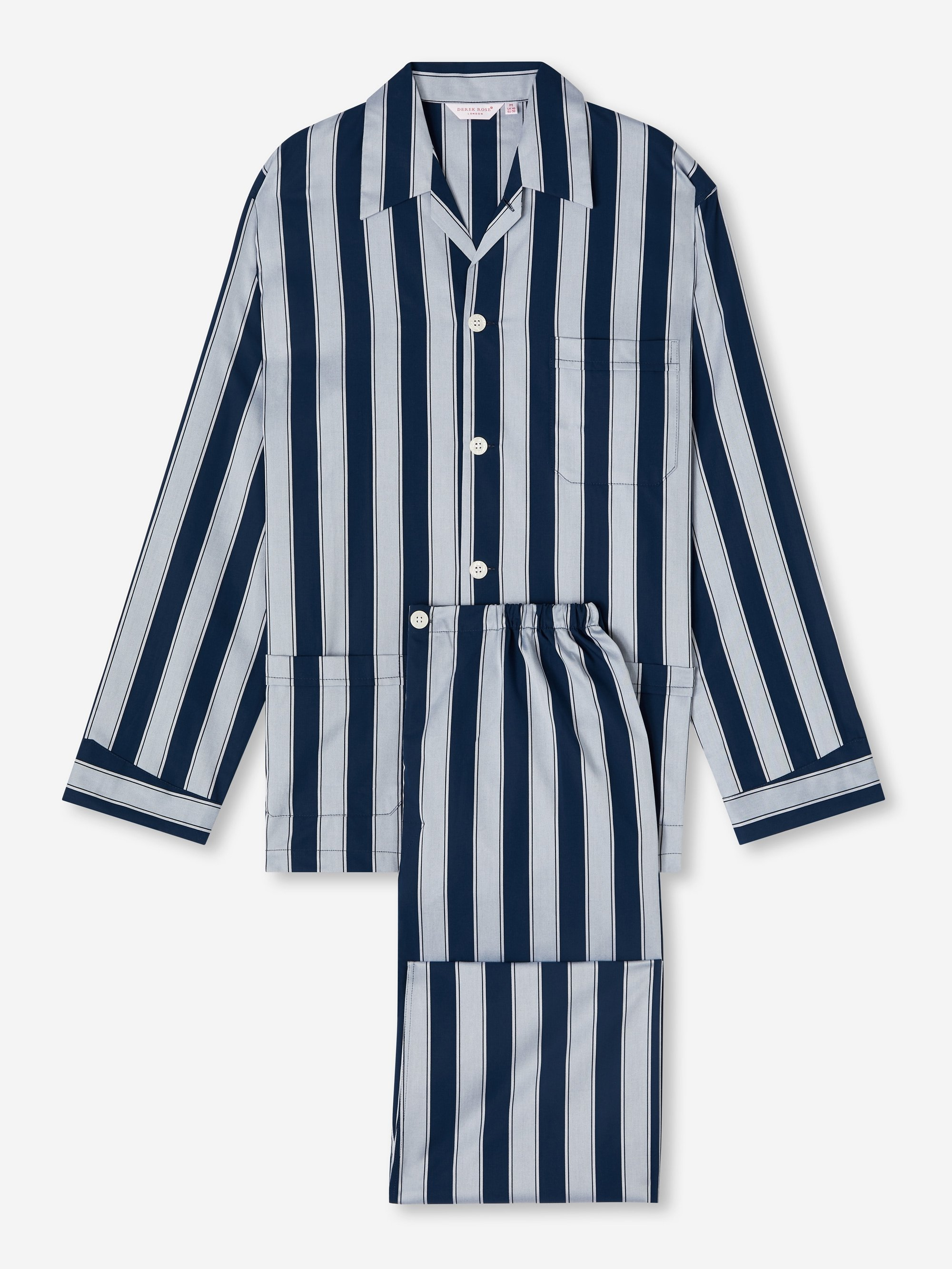 Men's Classic Fit Pyjamas Royal 216 Cotton Satin Stripe Navy