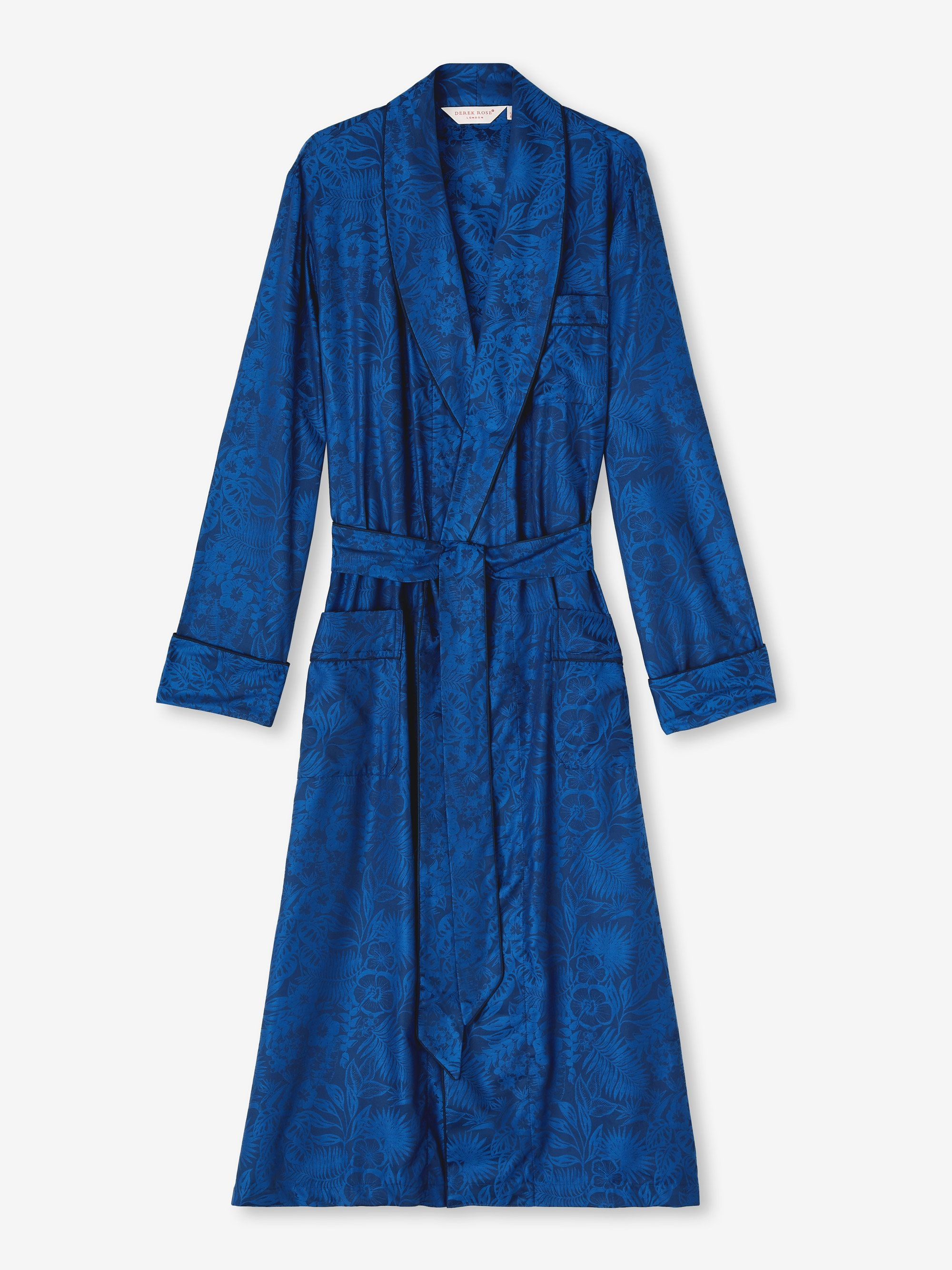 Men's Piped Dressing Gown Paris 19 Cotton Jacquard Navy