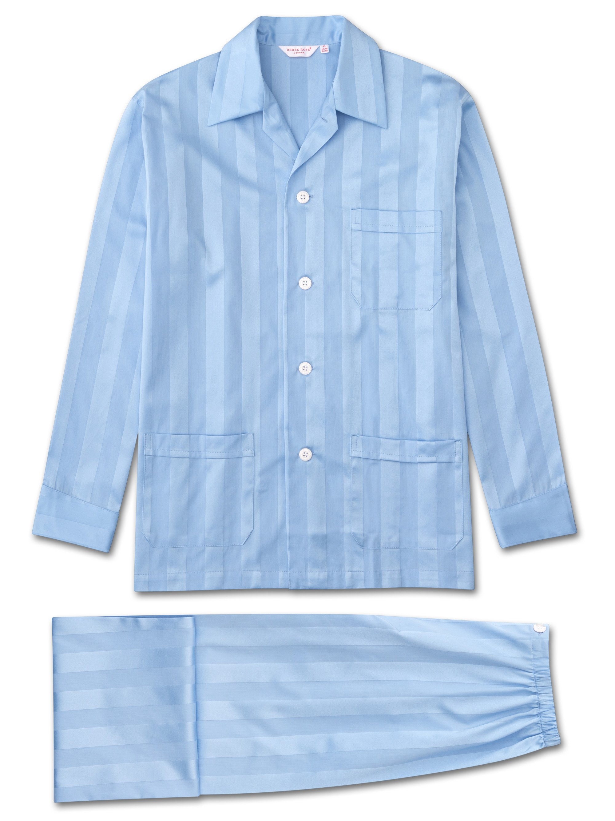 Men's Classic Fit Pyjamas Lingfield Pure Cotton Satin Stripe Blue
