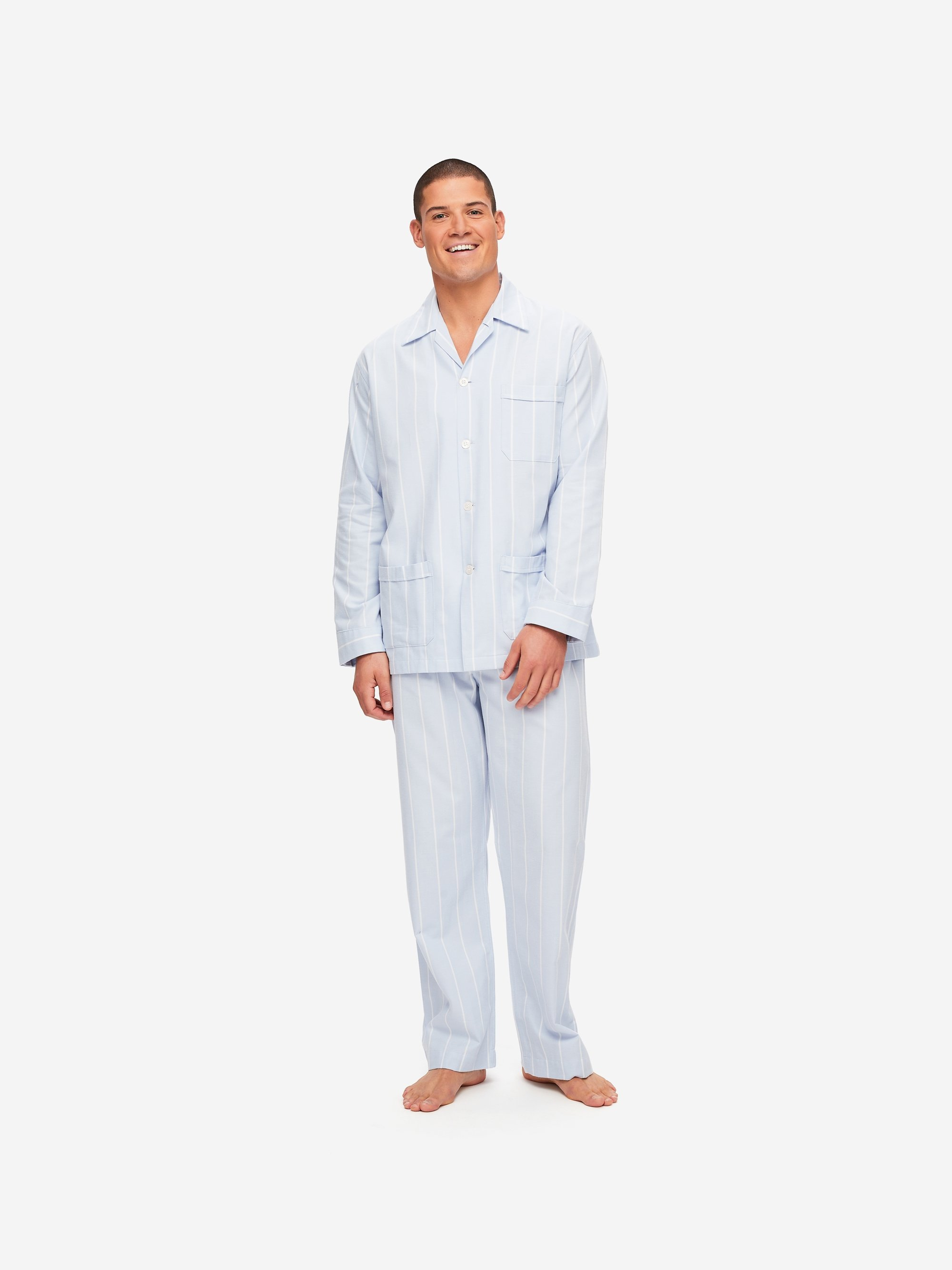 Men's Classic Fit Pyjamas Arctic 21 Brushed Cotton Stripe Blue