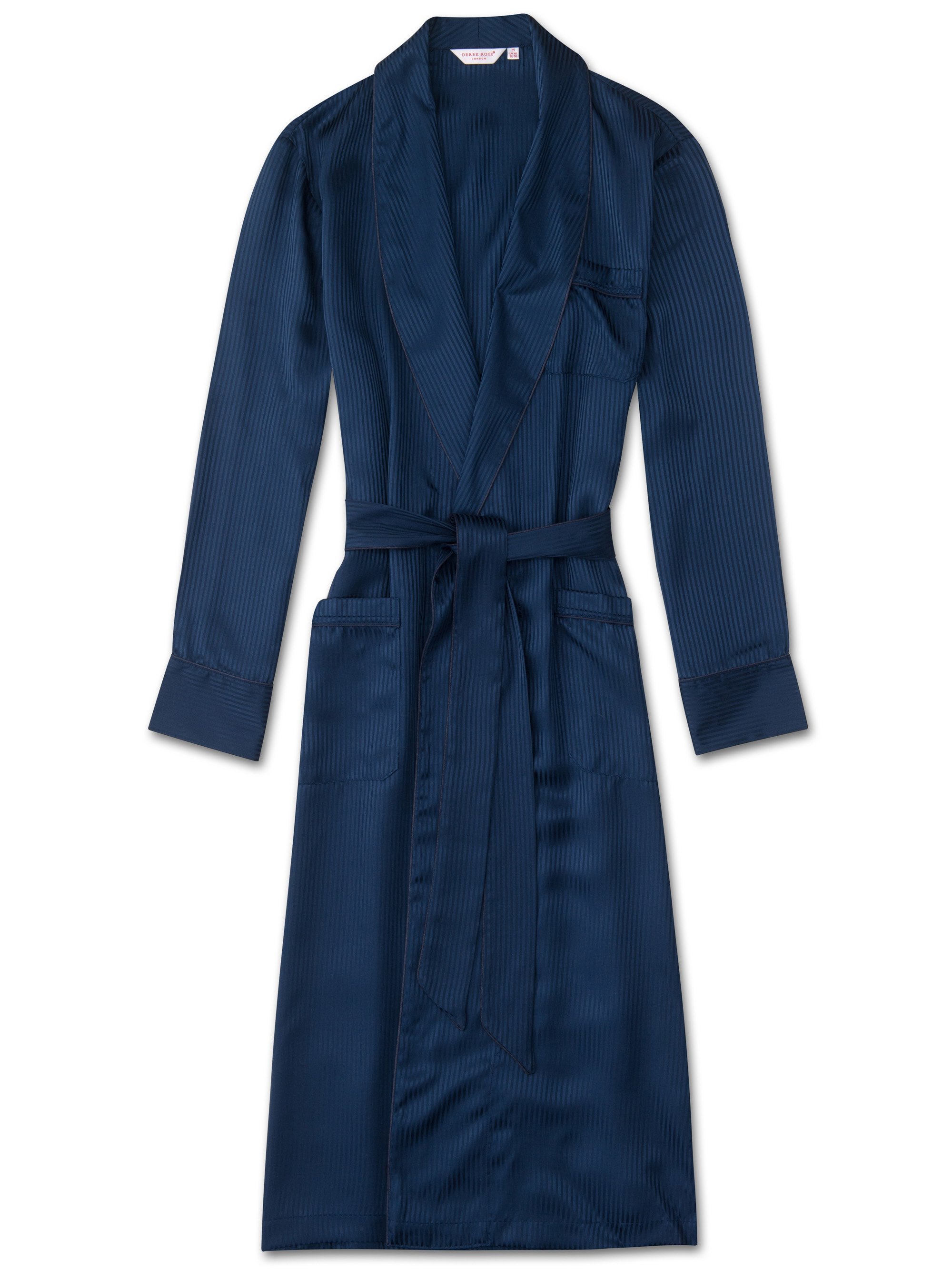 Men's Piped Dressing Gown Woburn 8 Pure Silk Satin Stripe Navy