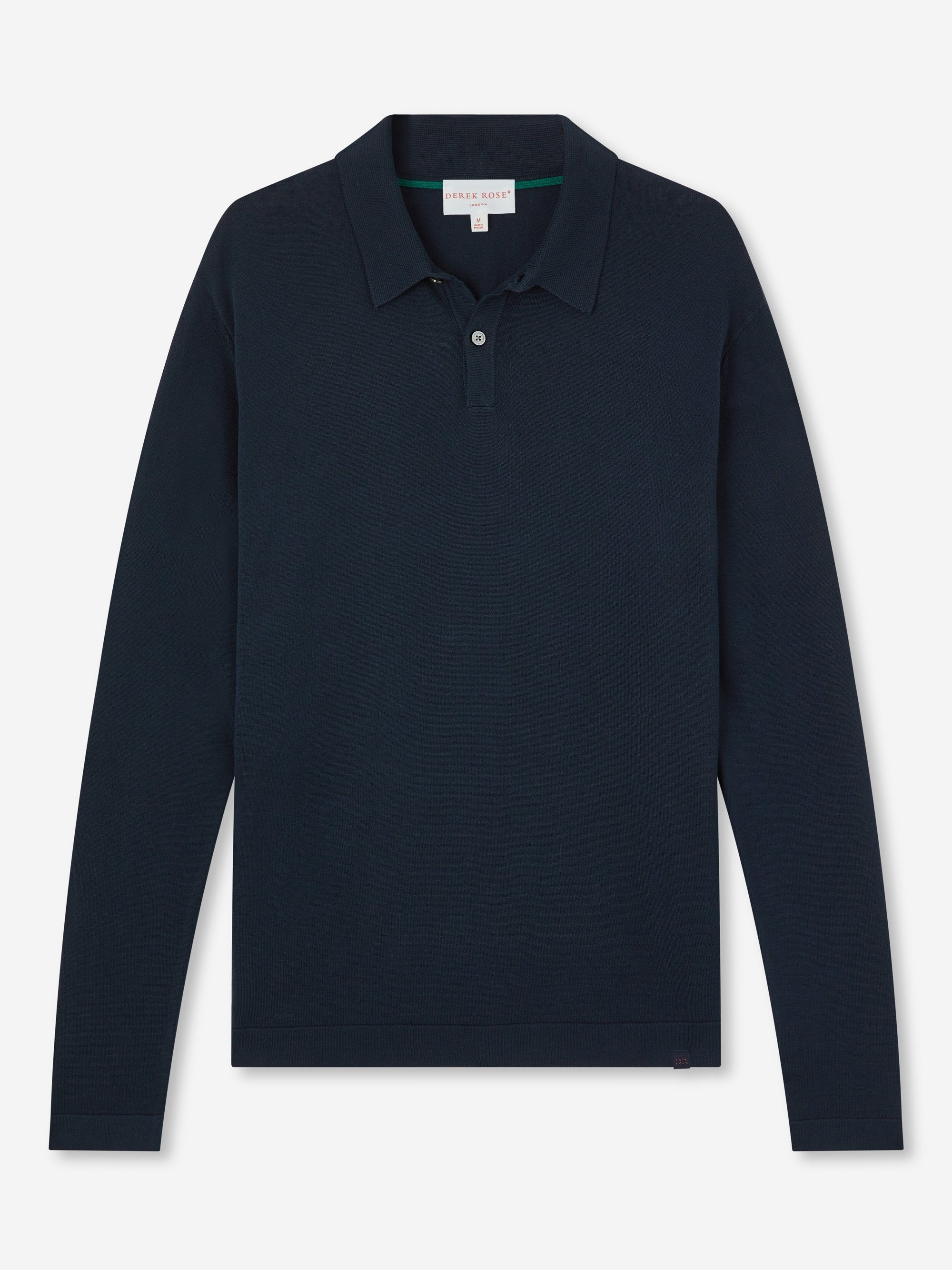 Men's Long Sleeve Polo Shirt Jacob Sea Island Cotton Navy