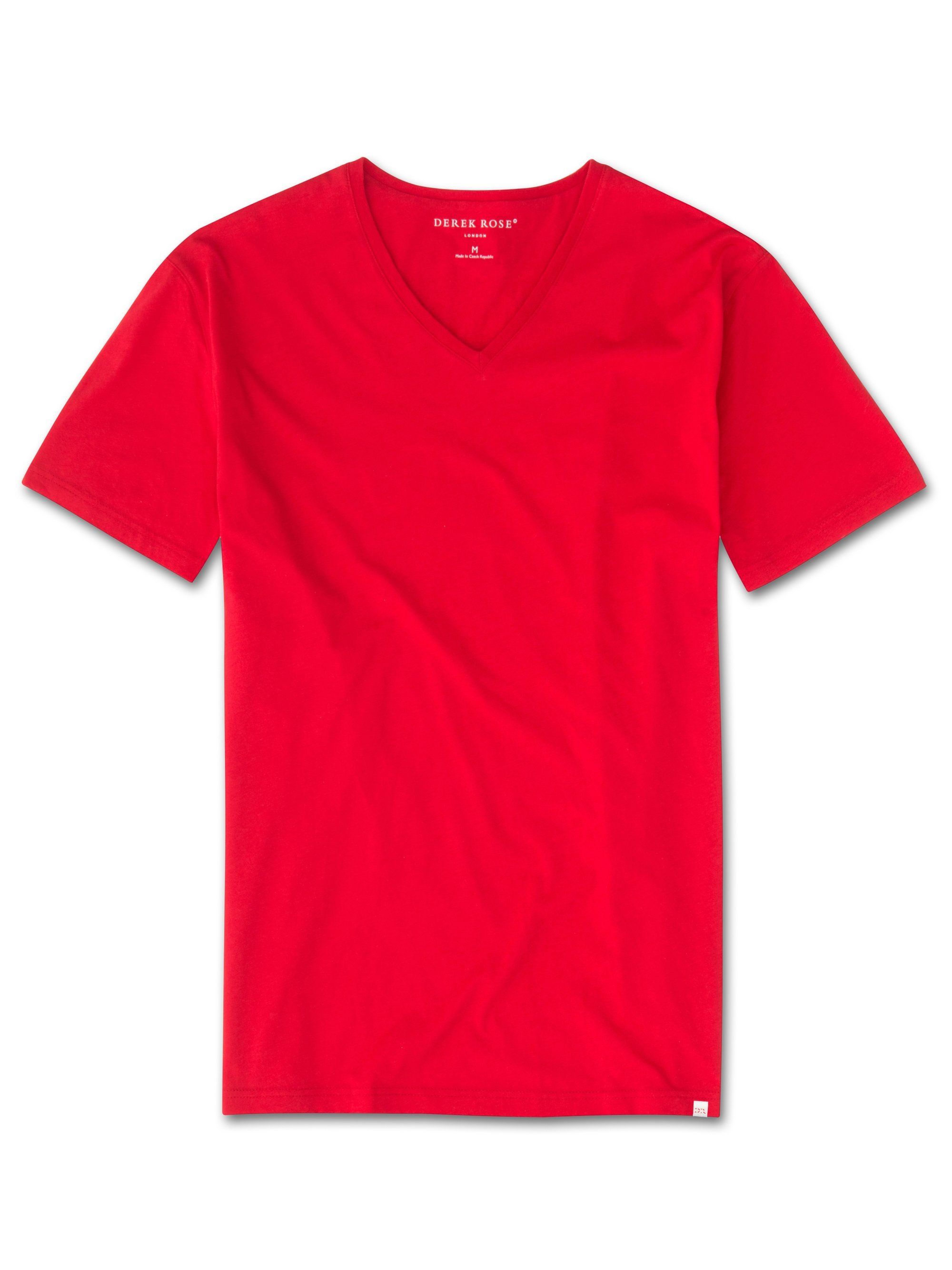 Men's Short Sleeve V-Neck T-Shirt Riley 2 Pima Cotton Red