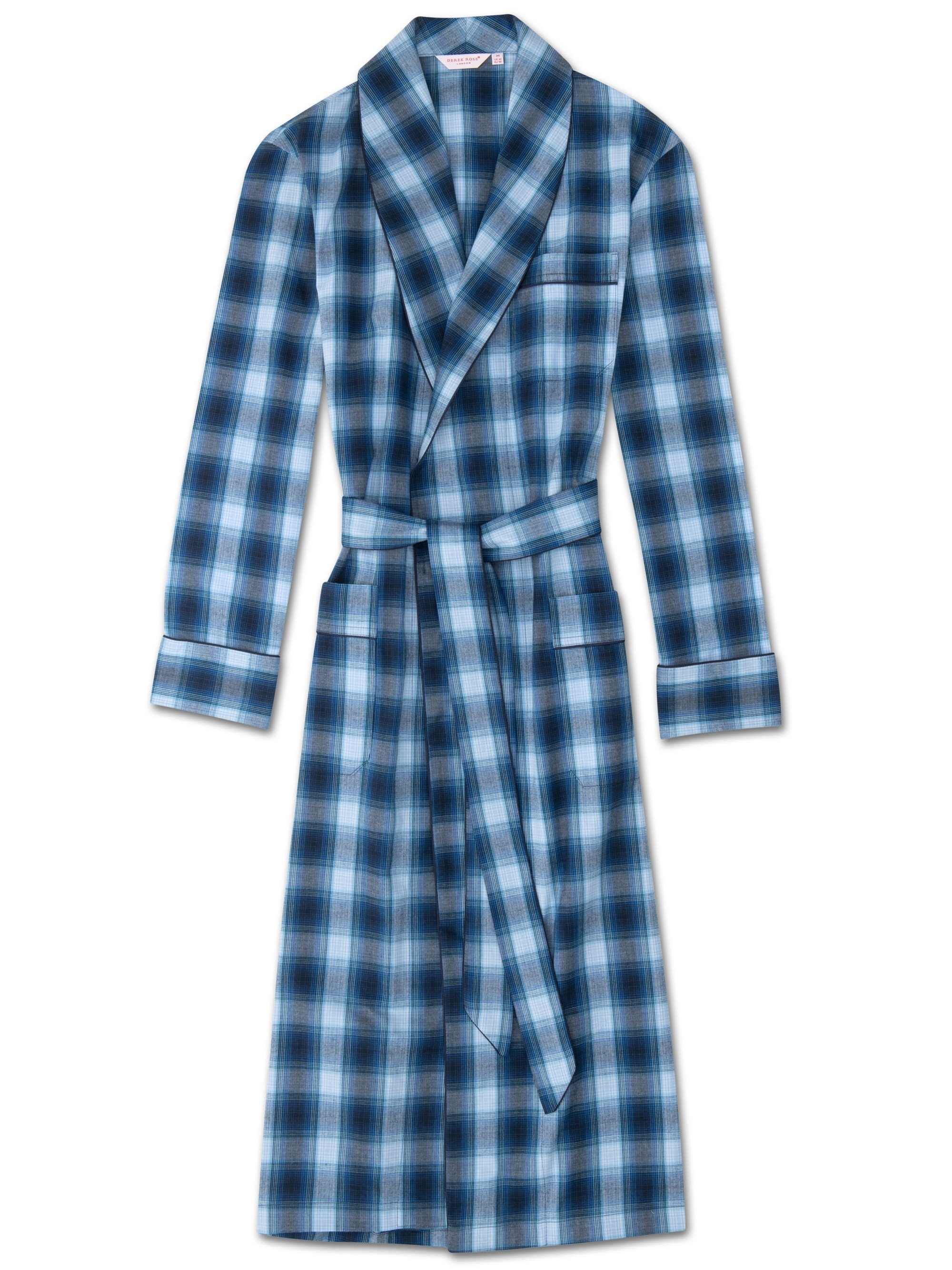 9200f10001d Men s Piped Dressing Gown Ranga 36 Brushed Cotton Check Blue