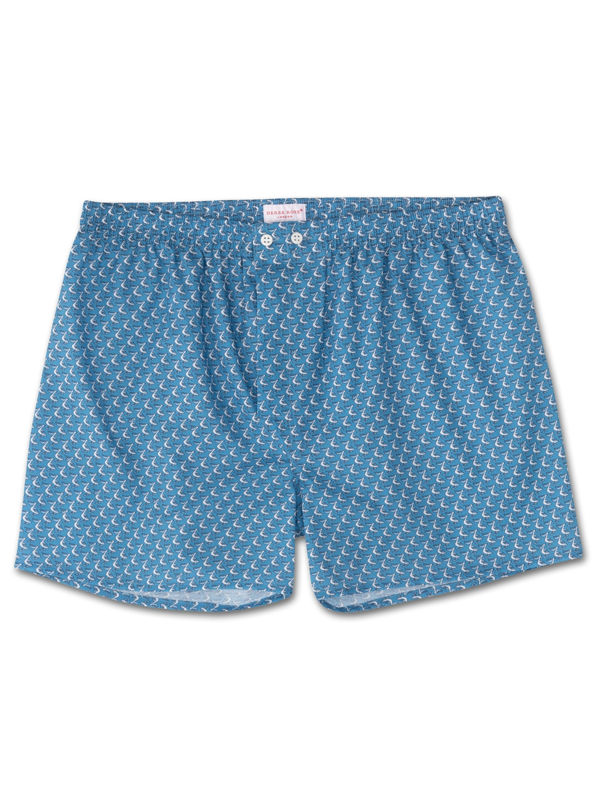 Men's Classic Fit Boxer Shorts Ledbury 16 Cotton Batiste Blue