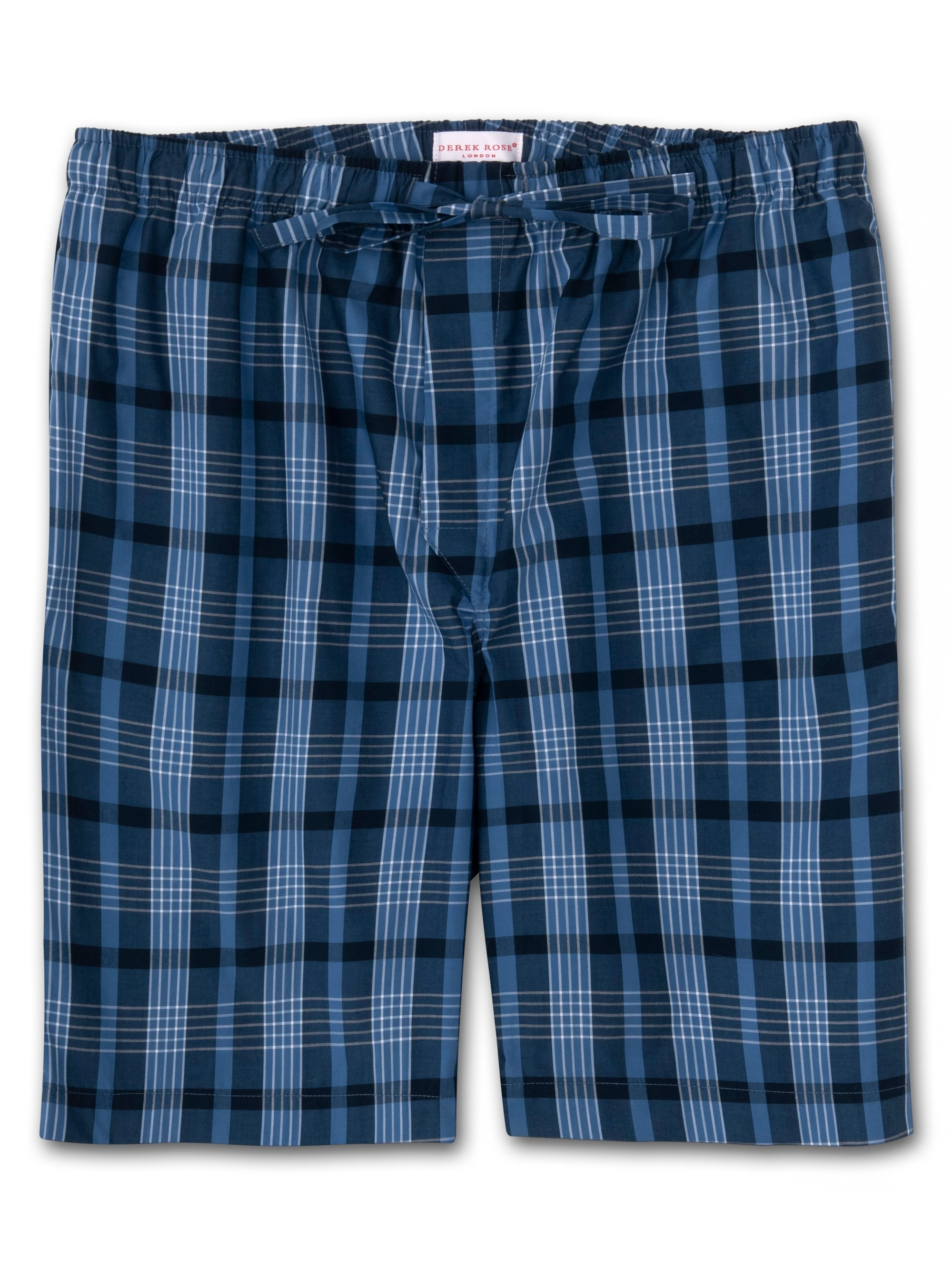 Men's Lounge Shorts Barker 28 Cotton Check Blue
