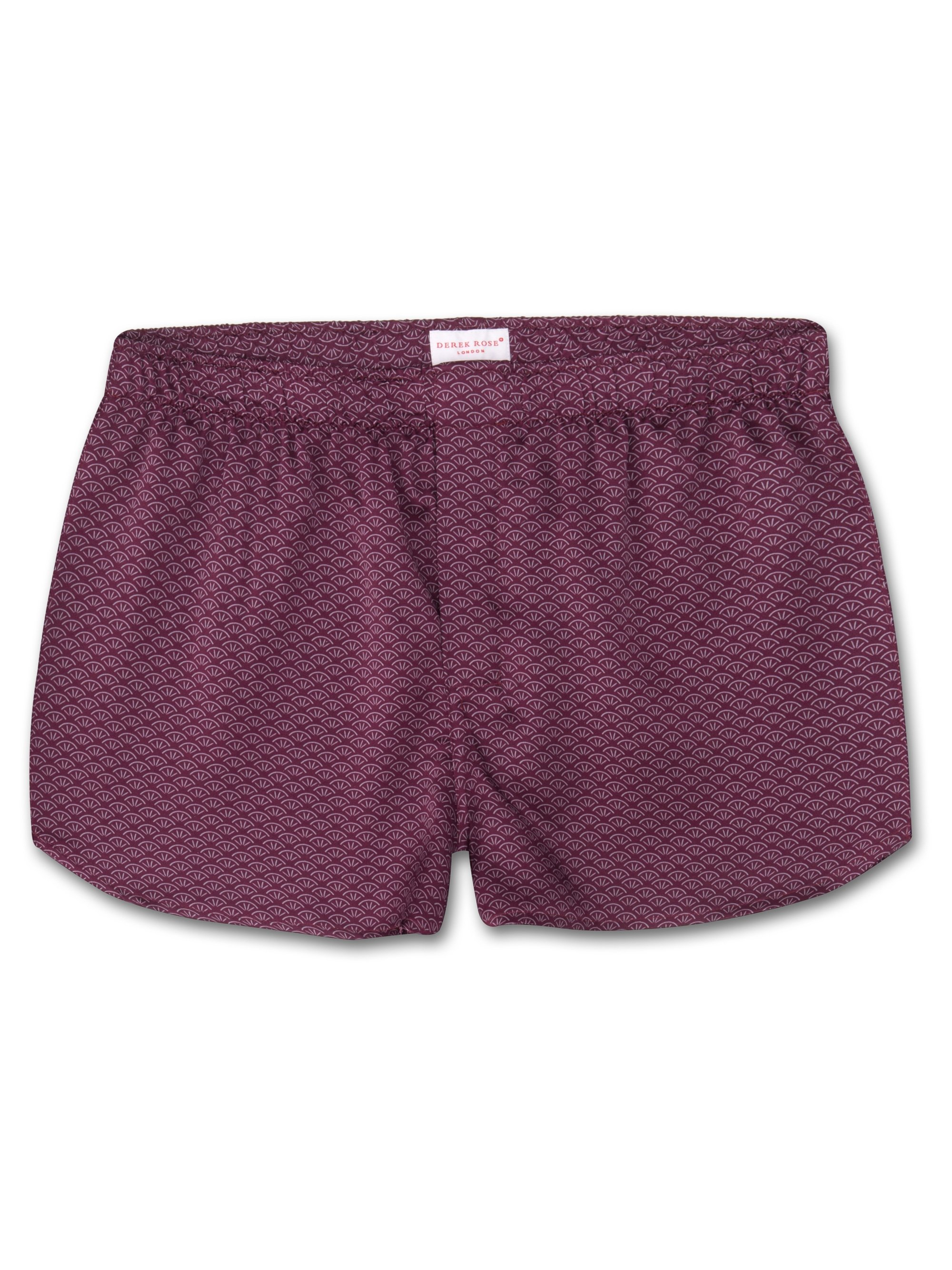 Men's Modern Fit Boxer Shorts Brindisi 26 Pure Silk Satin Burgundy